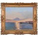 Sonnenuntergang am Mittelmeer mit FischerdorfBernardo Hay(Florenz 1864 - 1931), zugeschriebenÖl