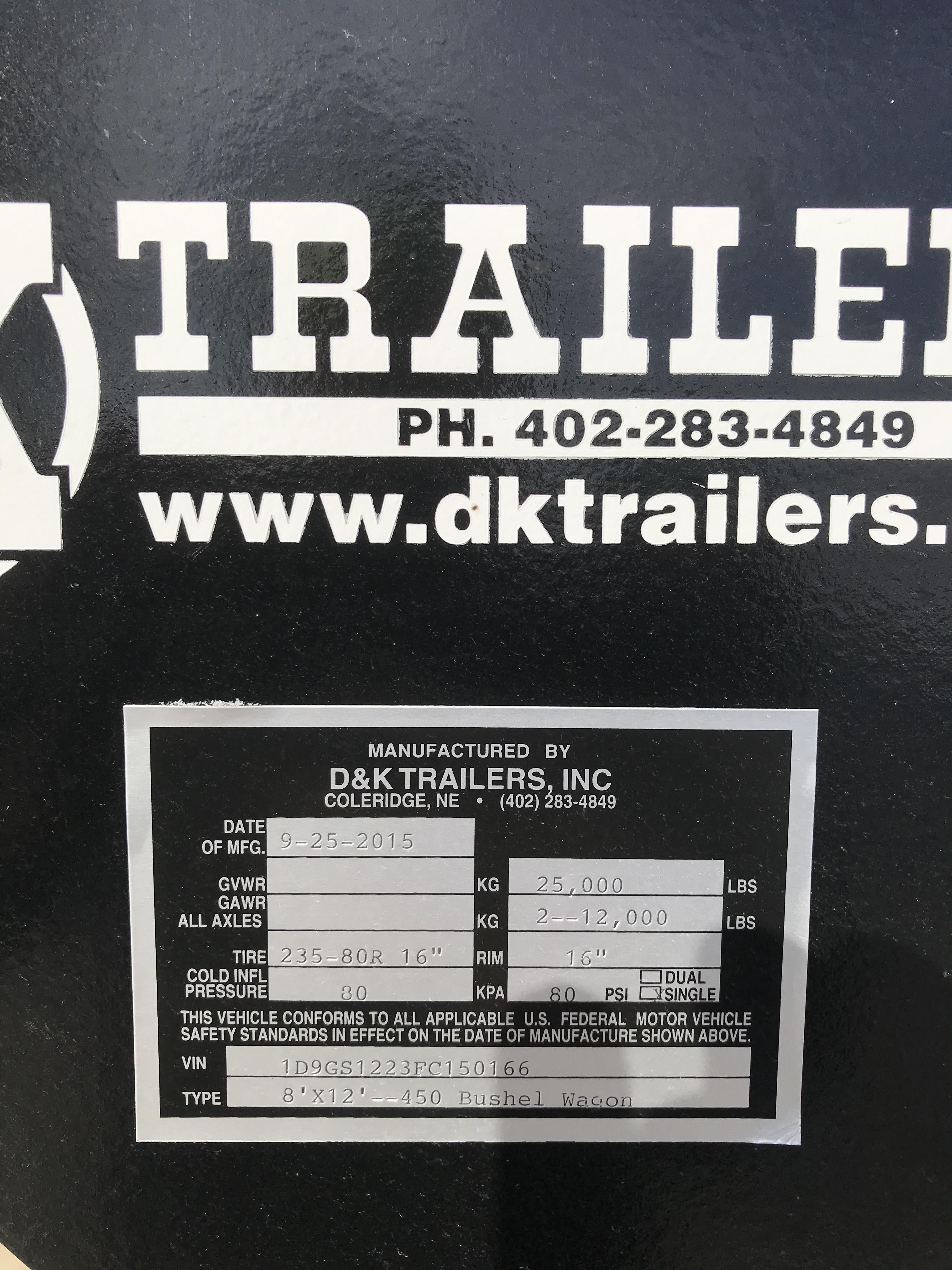 Lot 30 - 2015 D&K Grain Master 450 Bu. Grain Trailer, Gooseneck Hitch, 2-12 Ton Axles, Twin Jacks, Elec. Over