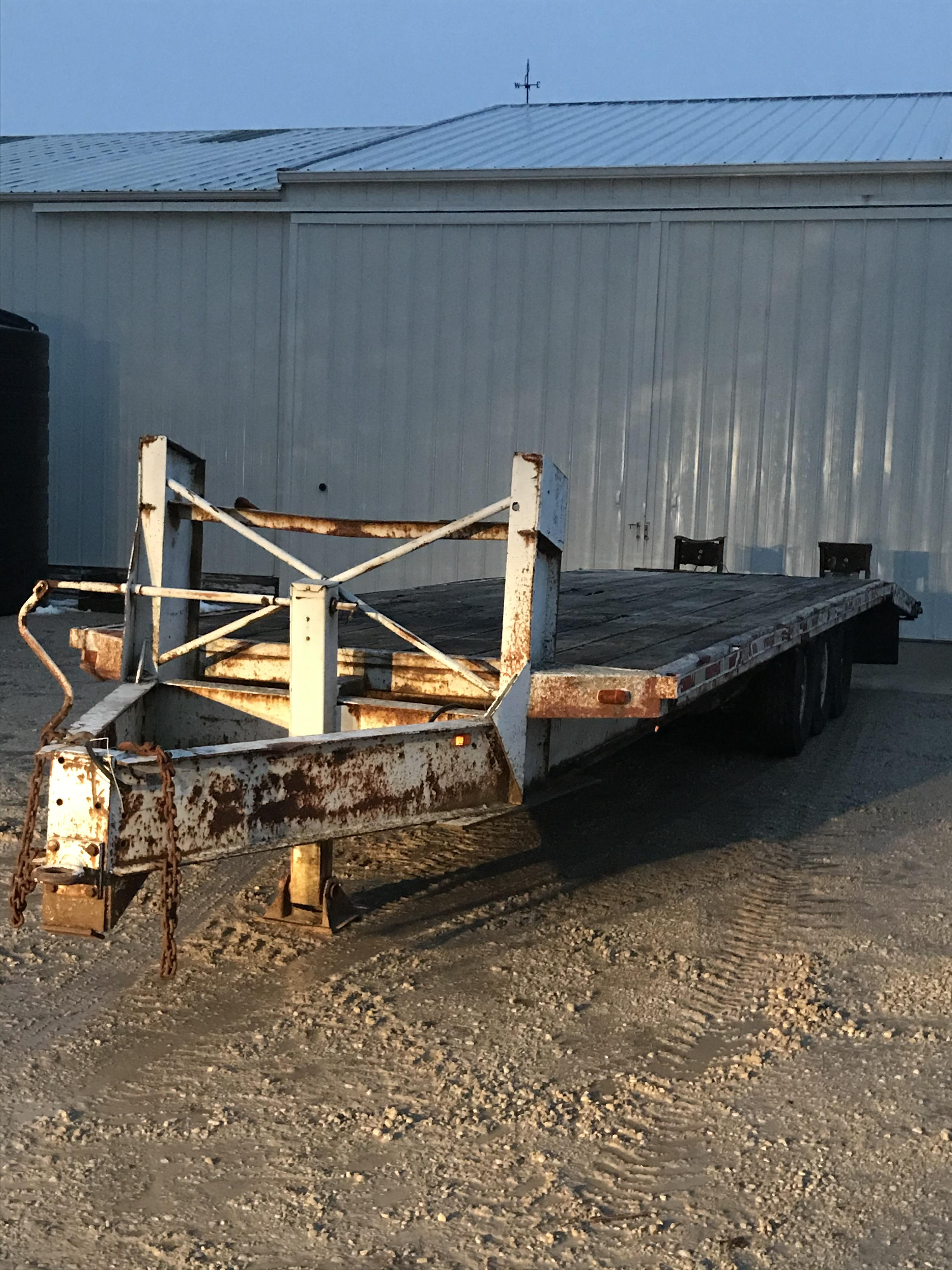 Triple Axle Flat Bed Trailer, Pintle Hitch Pull