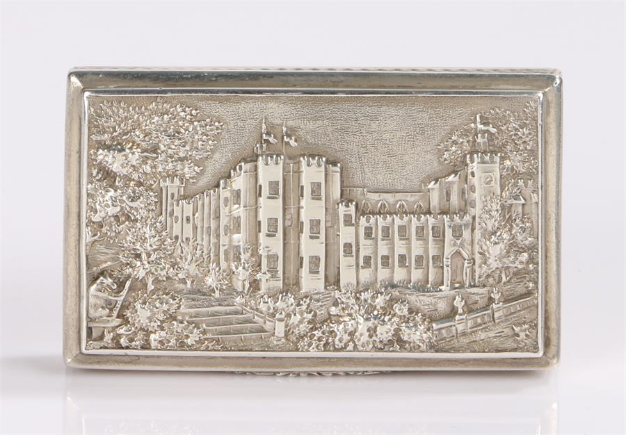 Lot 84 - Victorian silver castle top snuff box by Nathaniel Mills, Birmingham 1838, the cover with