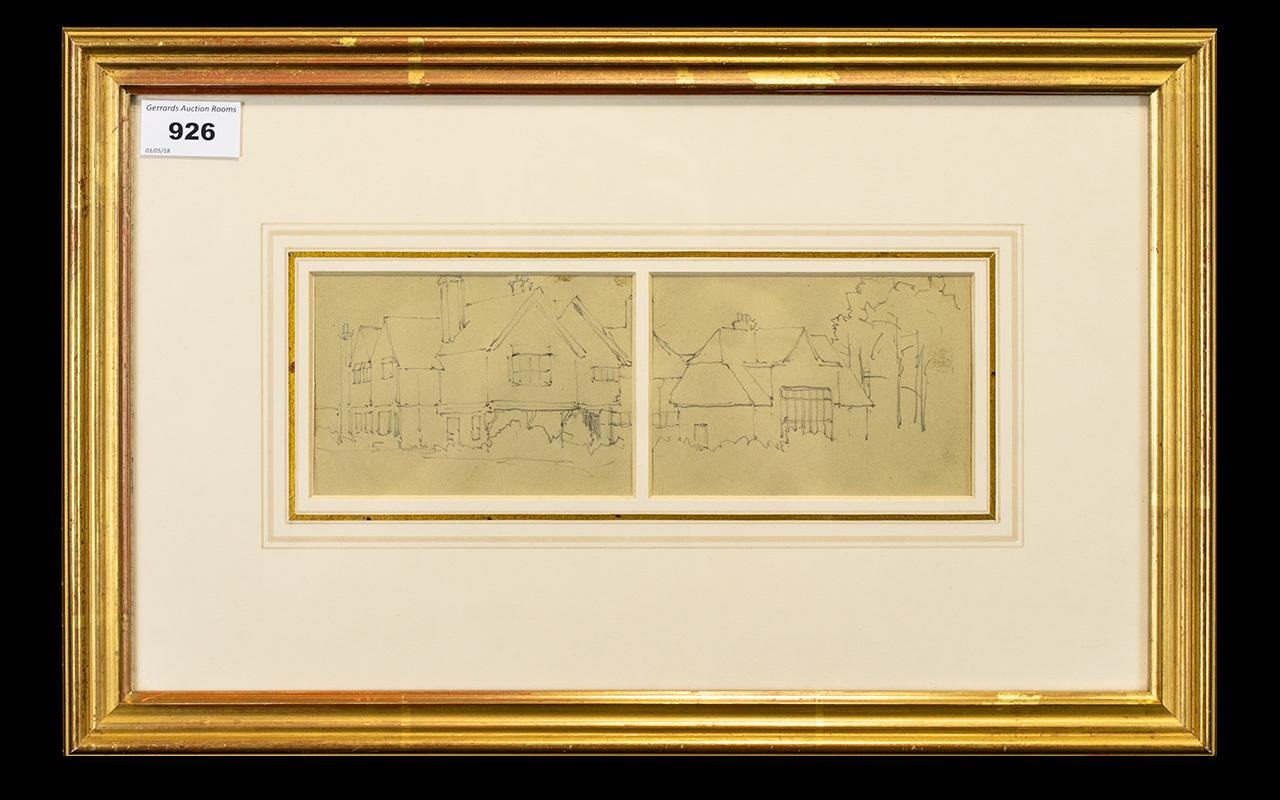 Lot 926 - Benjamin Williams Leader RA ( 1831 - 1923 ) Burrows Cross, Shere. Pencil 5.5 x 8.3/4 Inches.