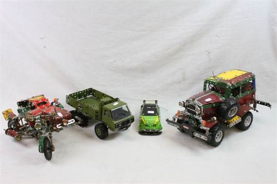 Four made up Meccano vehicles, motorcycle with sidecar