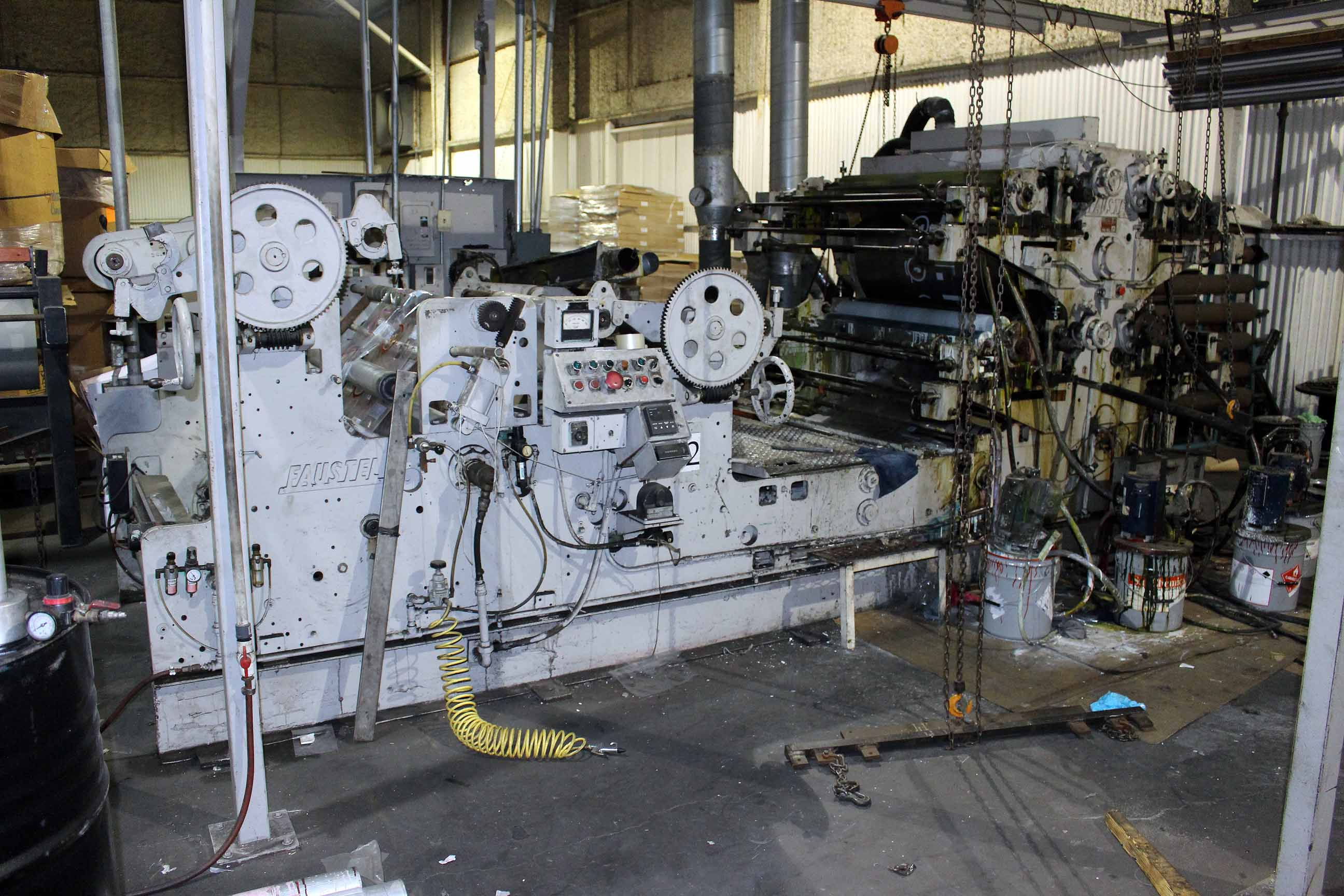 "Lot 7 - CI FLEXOGRAPHIC PRINTING PRESS, FAUSTEL MDL. E41-II, 44""W. cap., 4-color, fume exhaust blower"