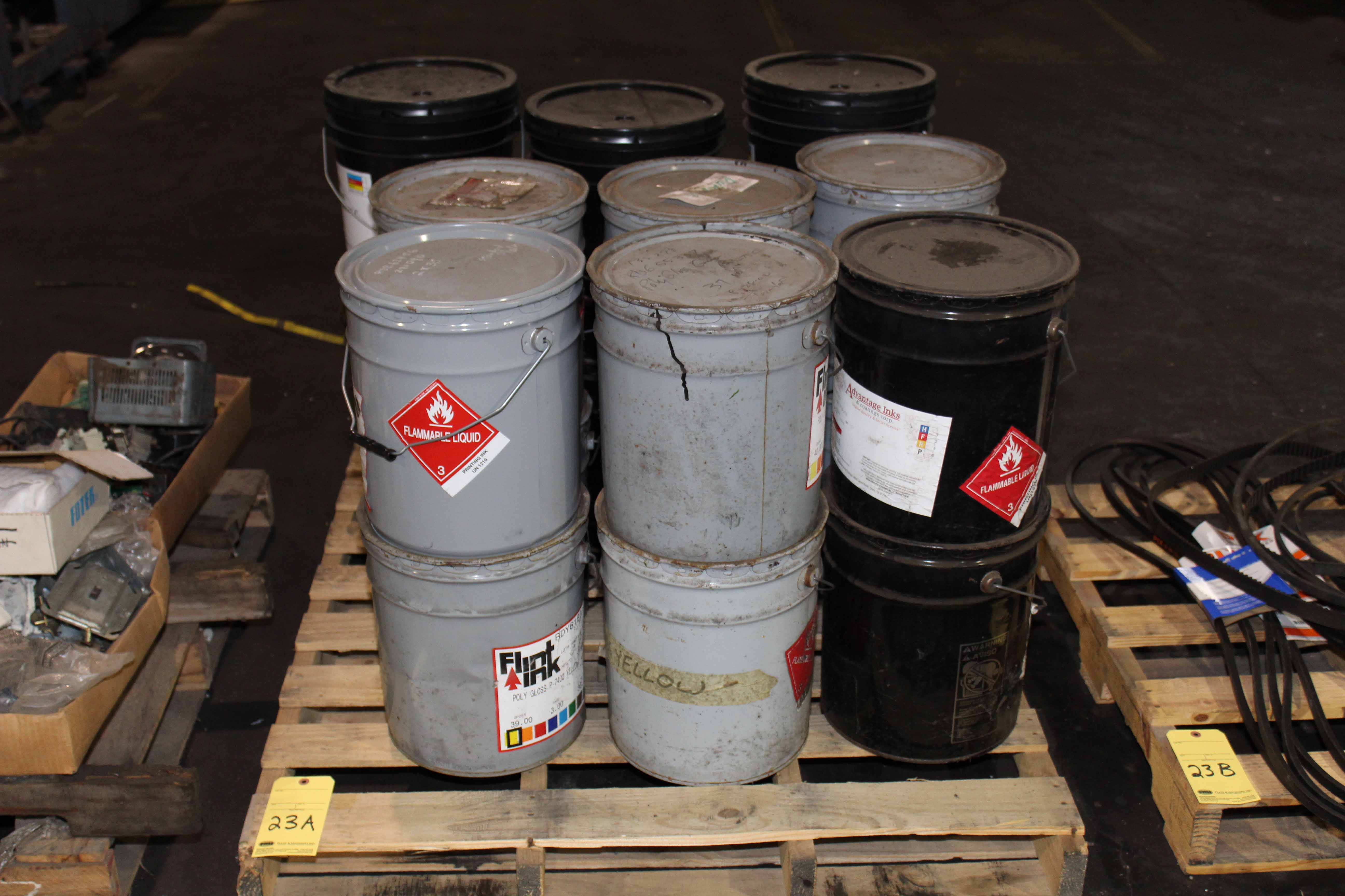 Lot 23A - LOT OF 5 GALLON DRUMS OF PRINTING INK, APPROX. (18)