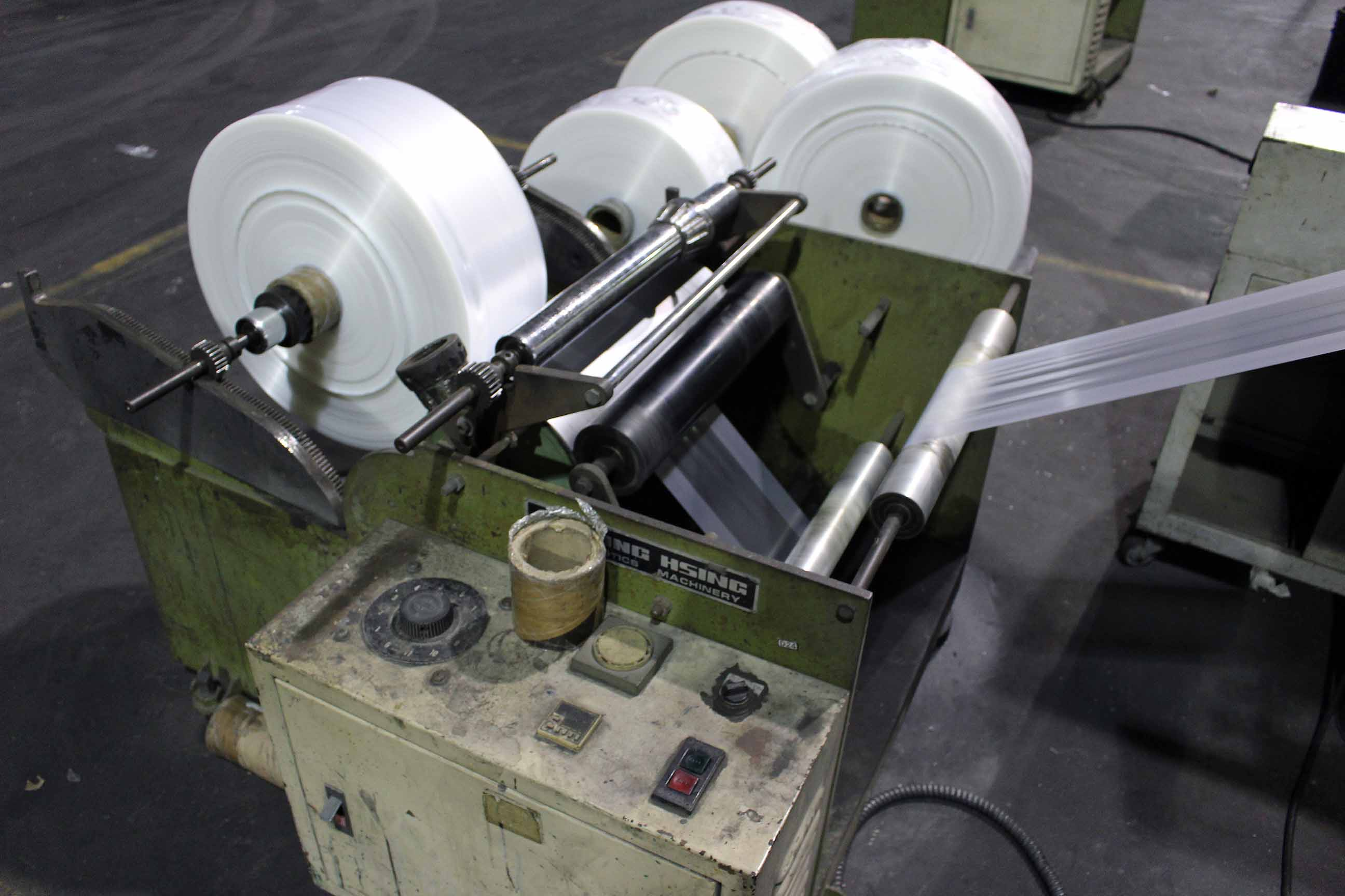 "Lot 2 - BLOWN FILM BAG EXTRUSION LINE, consisting of: Kung Hsing Mdl. 45 Extruder, 15 HP motor, 12"" ring, 45"