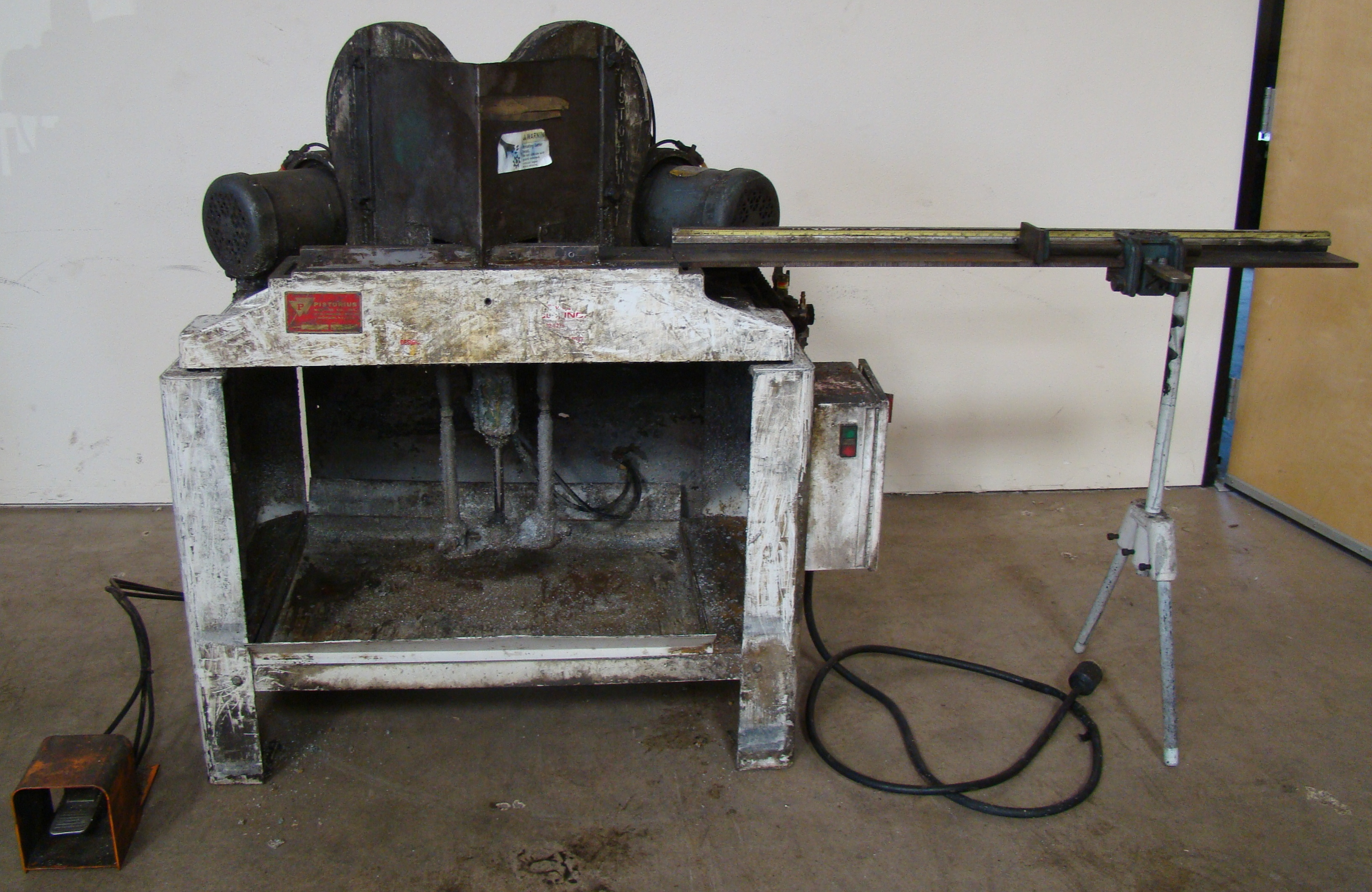 Lot 35 - Pistorius MN-100 Double Miter Cut-off Saw 45 Degree Trim Chop Saw, Has 2 - 1-1/2 HP 230/460 Volt 3PH