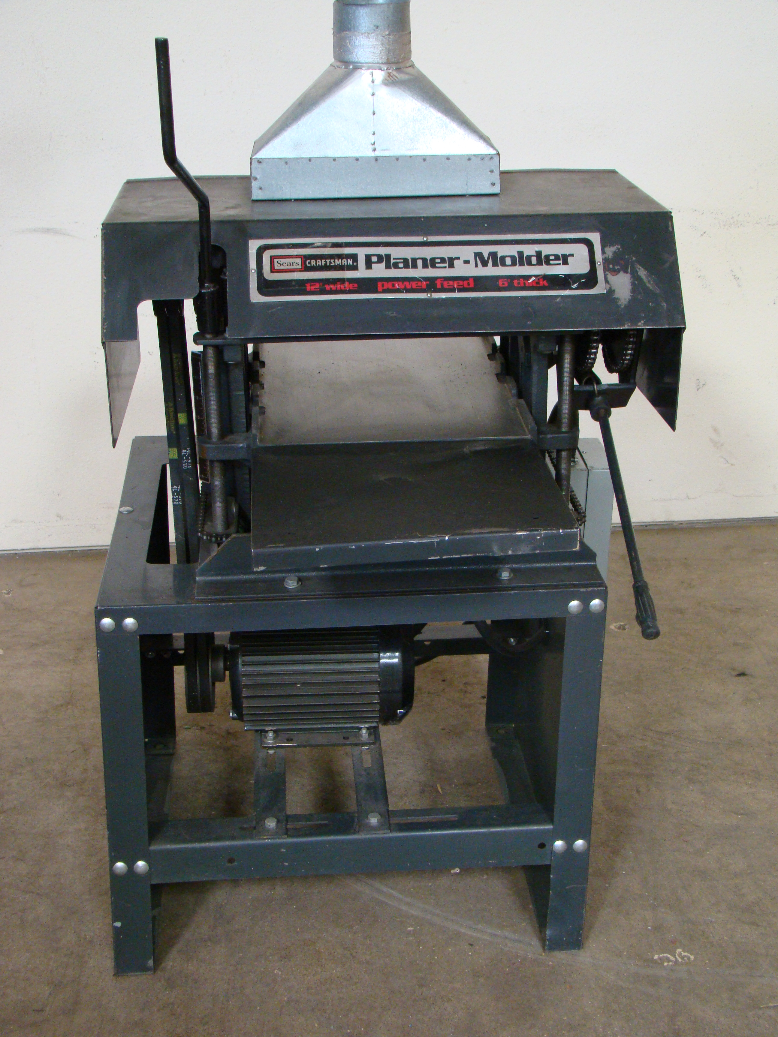 "Craftsman 12"" Planer/Moulder, Power Feed, 6"" thick 2 HP 115/230 Volt 1PH"
