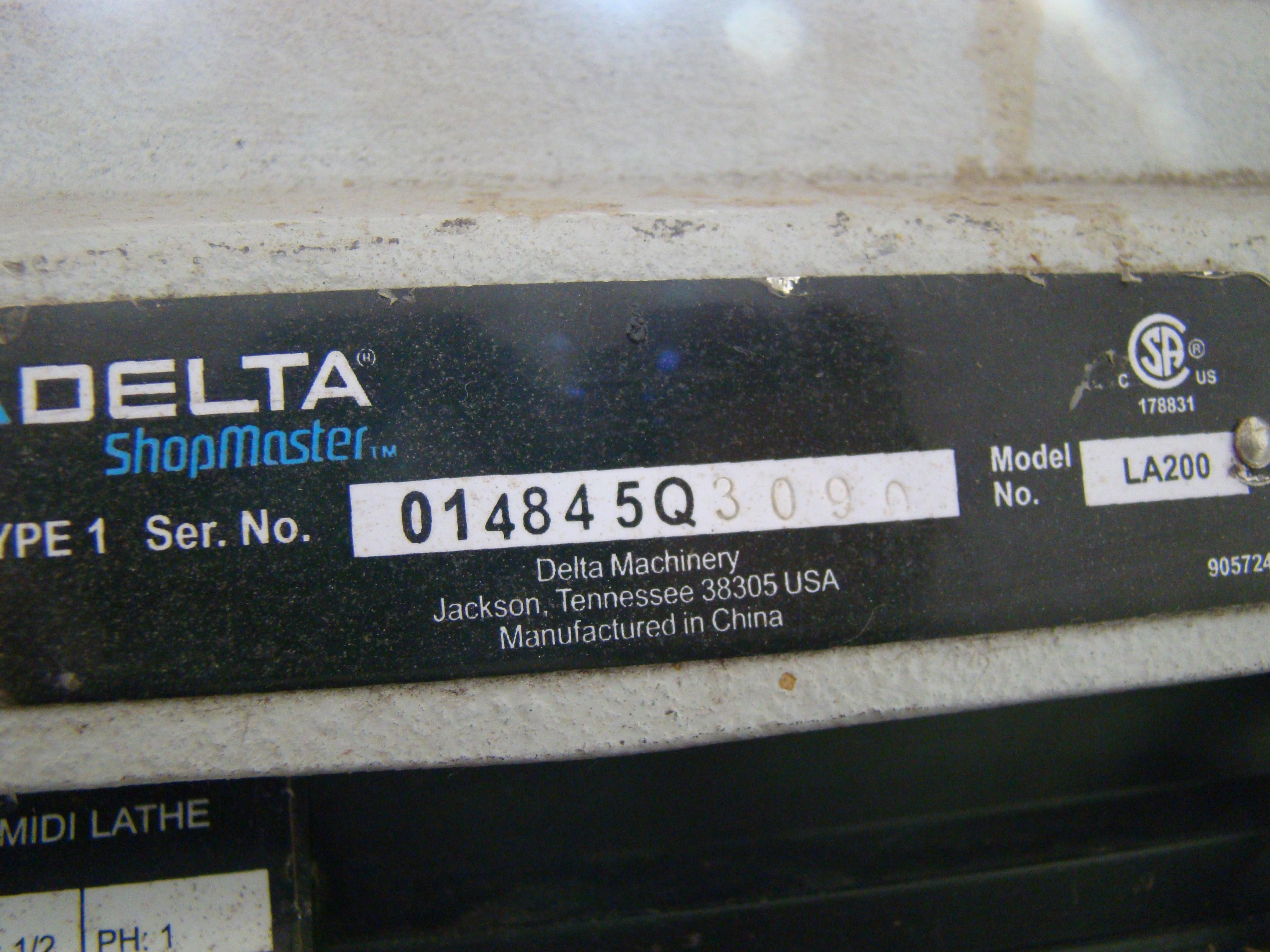 Delta Wood Lathe Model LA200 1/2 HP 120V 1PH - Image 6 of 9