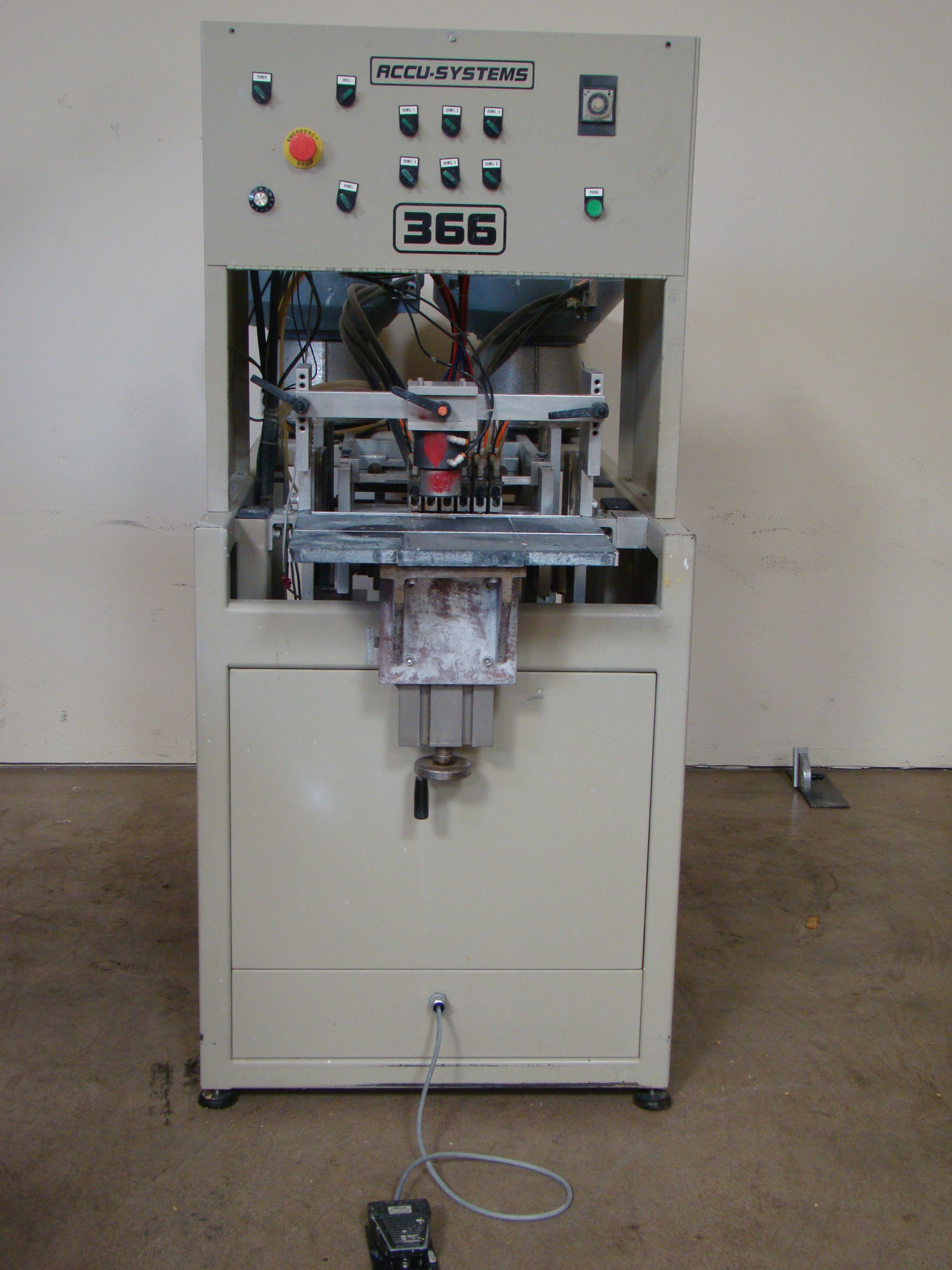 ACCU-Systems 366 Dowel Insertion Machine with Foot Pedal, Vibratory Bowl Feeders, Glue Pot 220