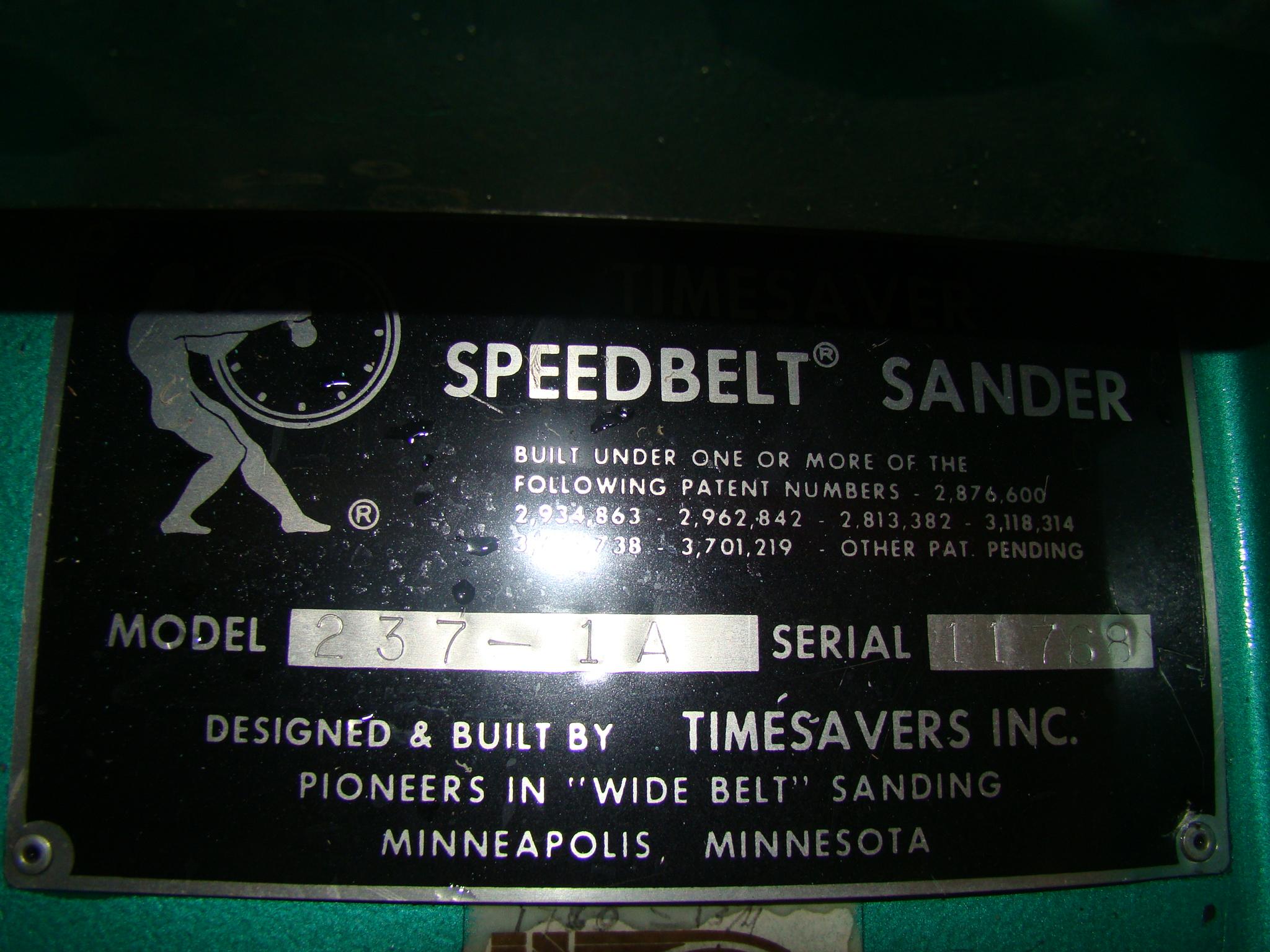 """Time Saver Speedbelt 37"""" Sander Model 237-1A 40 HP 230/460 Volt 3PH - Image 6 of 12"""
