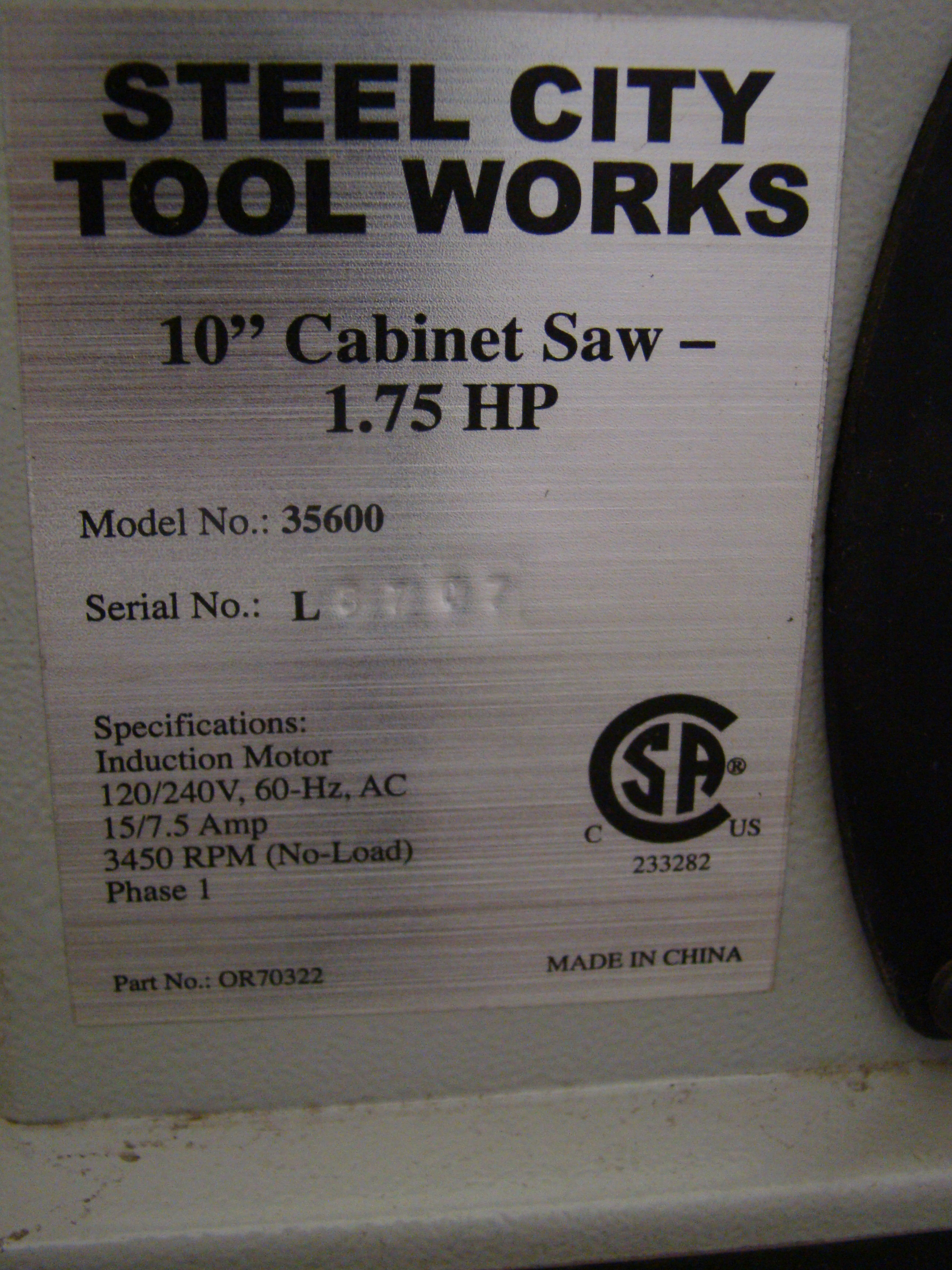 """Steel City Table/Cabinet Saw Model 35600, 34"""" Rails 1-3/4 HP 120/240 Volt 1PH - Image 3 of 7"""