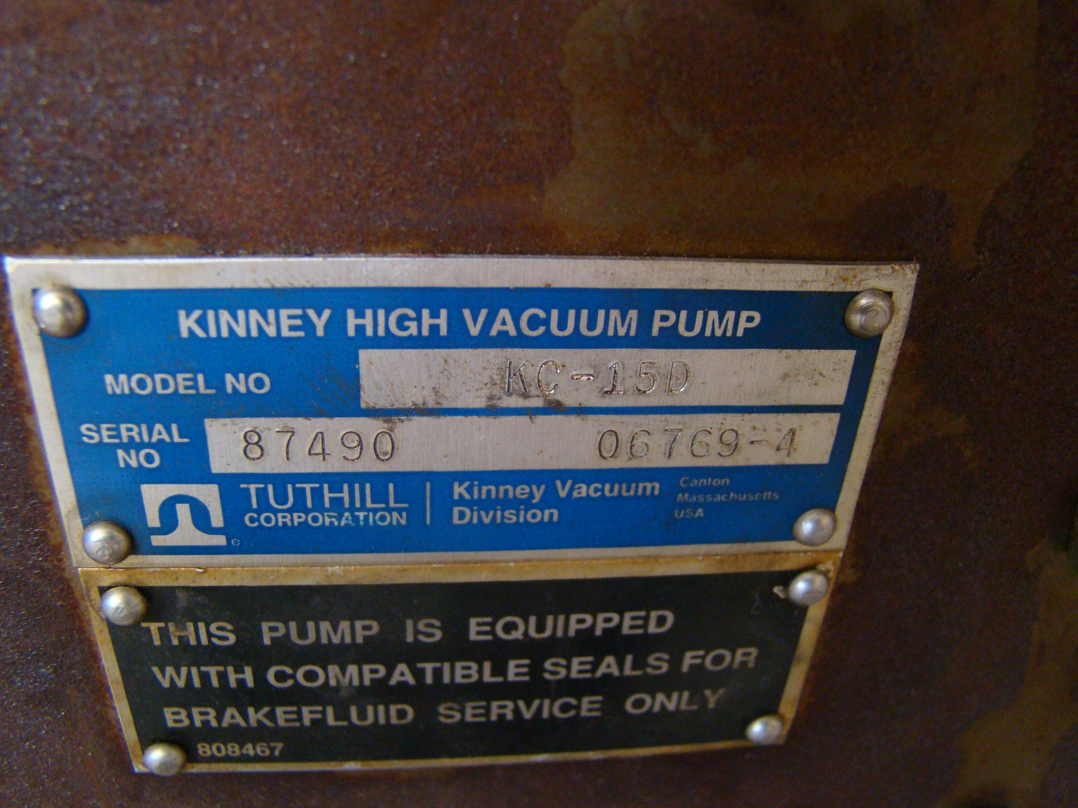 Kinney High Vacuum Hydraulic Pump 1HP 230/460 Volt 3PH - Image 4 of 4