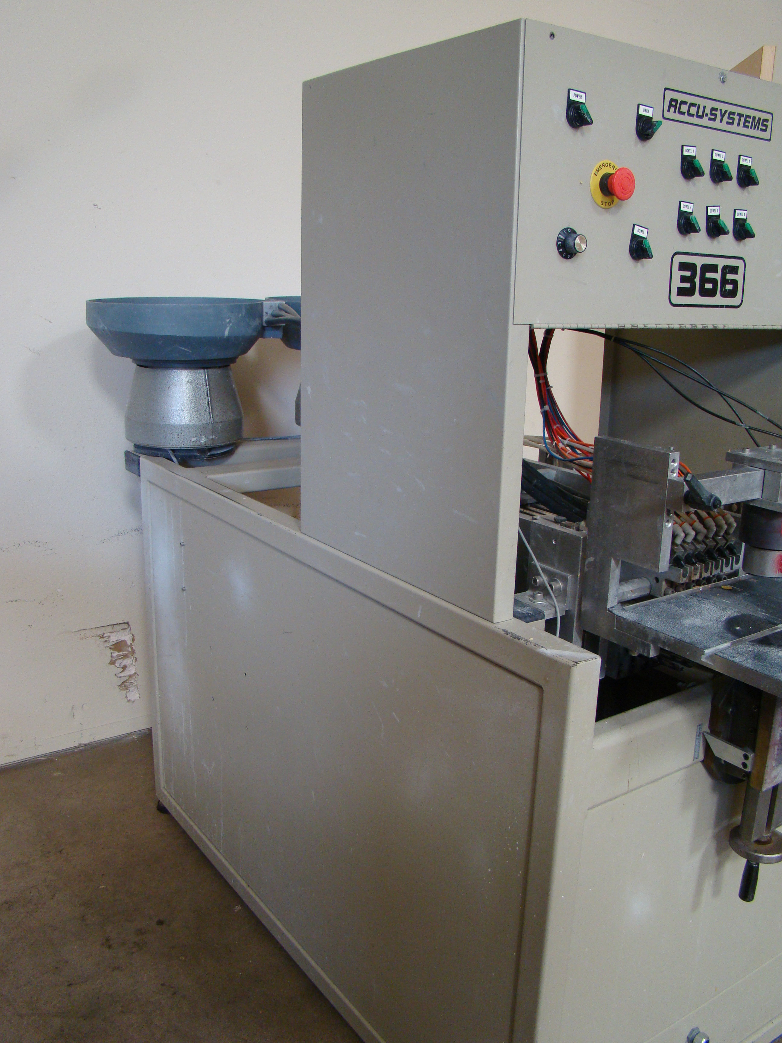 ACCU-Systems 366 Dowel Insertion Machine with Foot Pedal, Vibratory Bowl Feeders, Glue Pot 220 - Image 3 of 8
