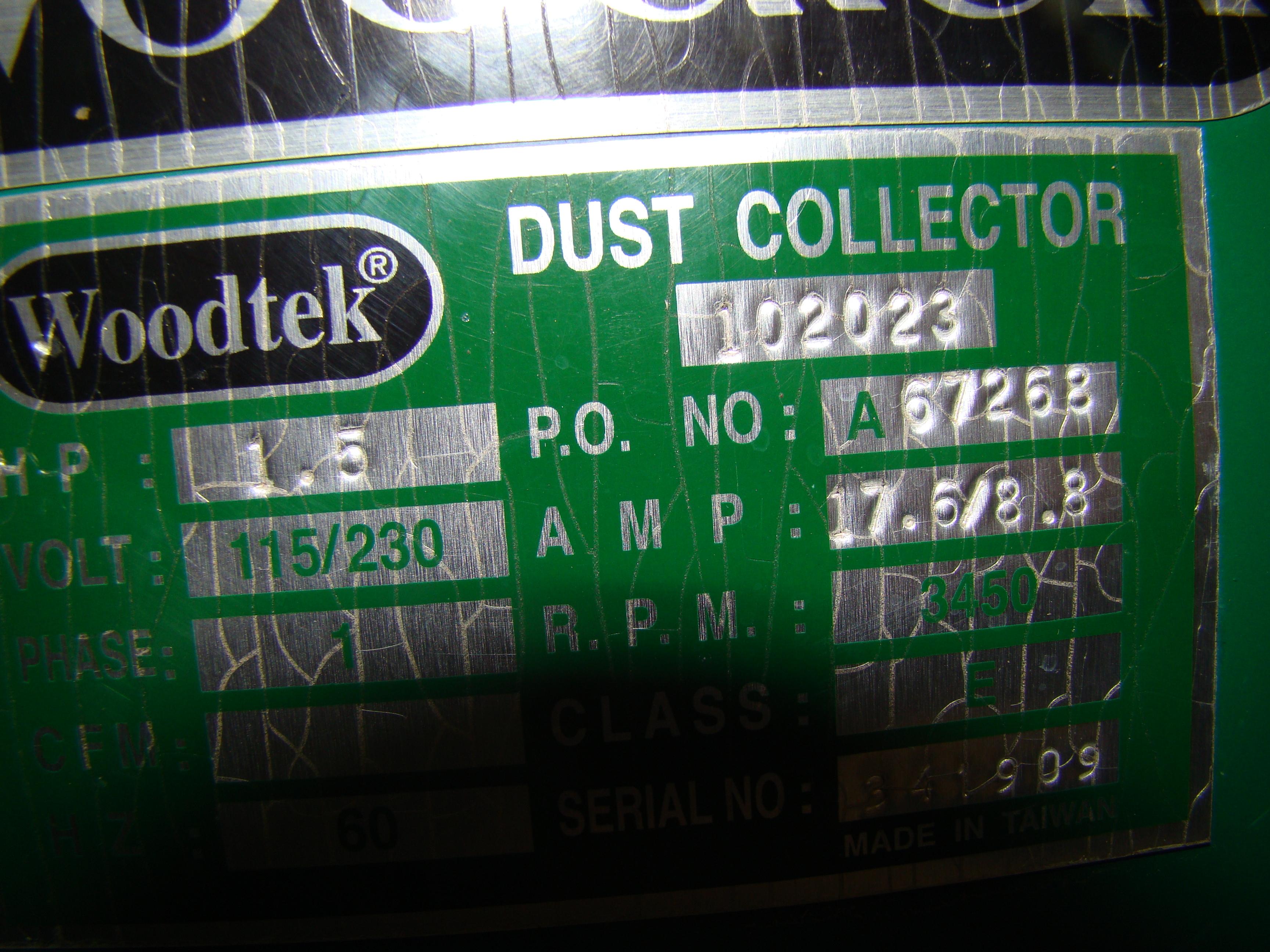 Woodtek Dust Collector 102023 1.5 HP 115/230V 1PH - Image 3 of 6