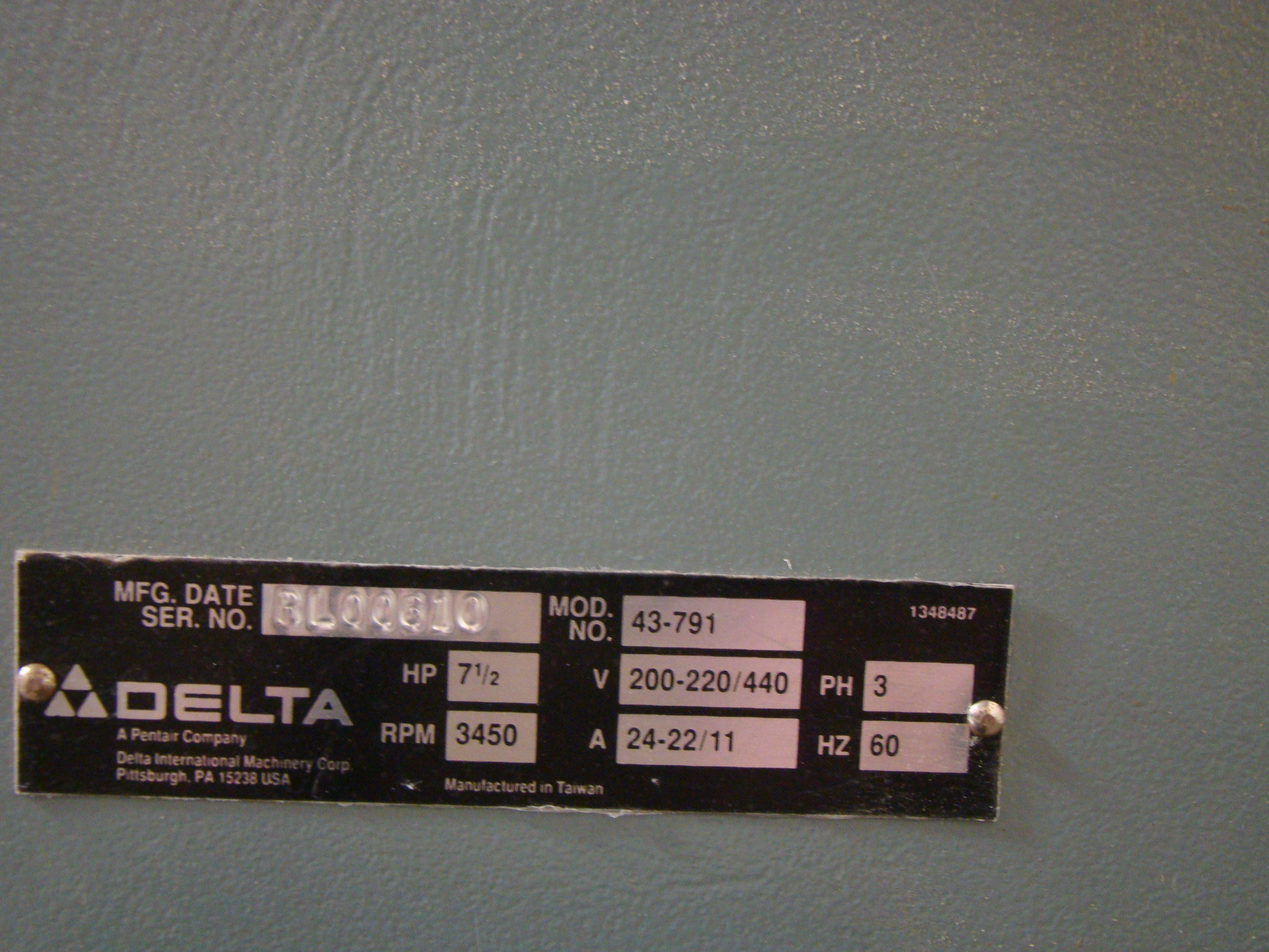 """Delta Wood Shaper 43-791 5 speed 1-1/4"""" Spindle 7.5 HP 200-220/440 Volt 3PH - Image 5 of 6"""