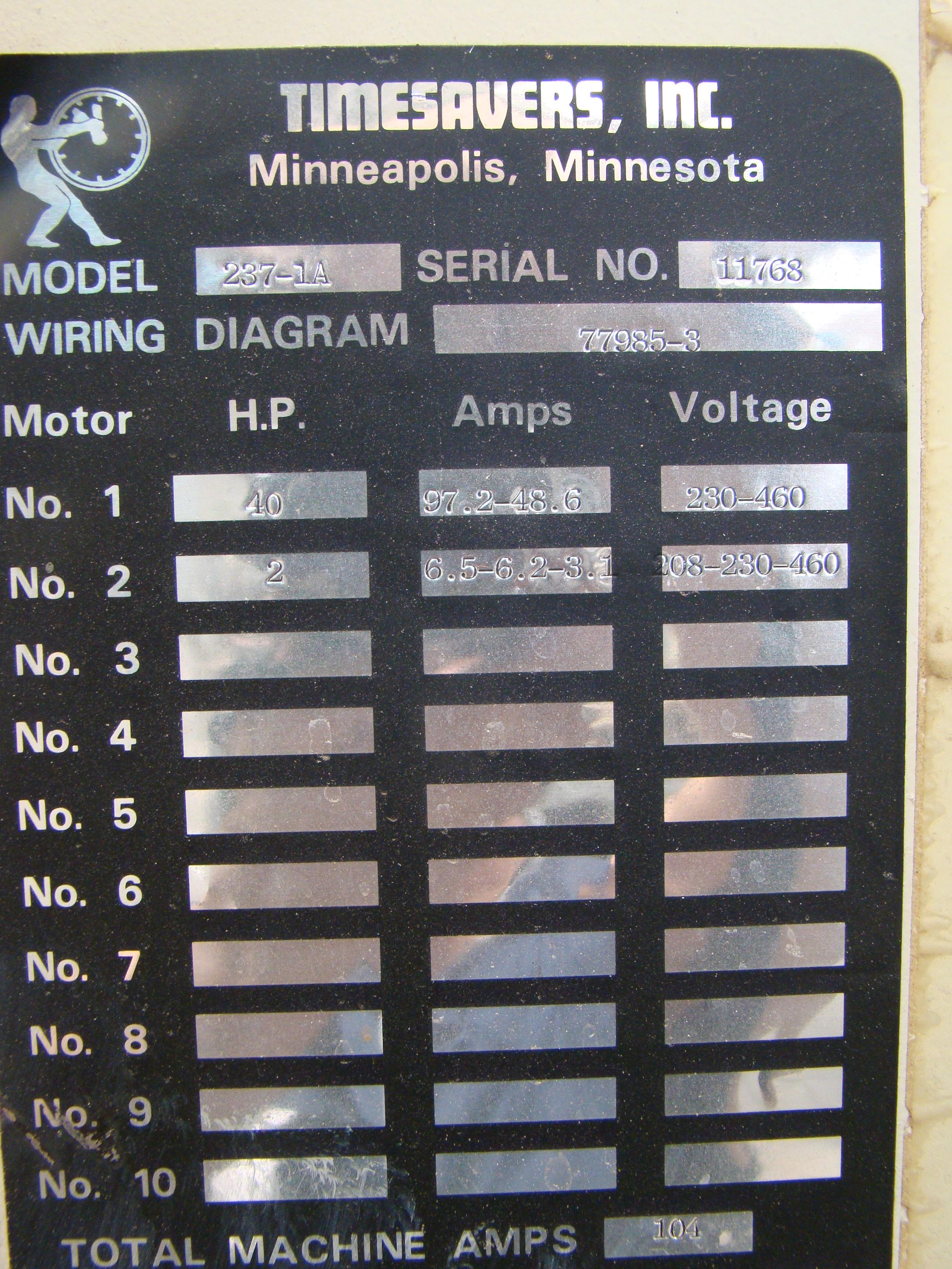 """Time Saver Speedbelt 37"""" Sander Model 237-1A 40 HP 230/460 Volt 3PH - Image 12 of 12"""