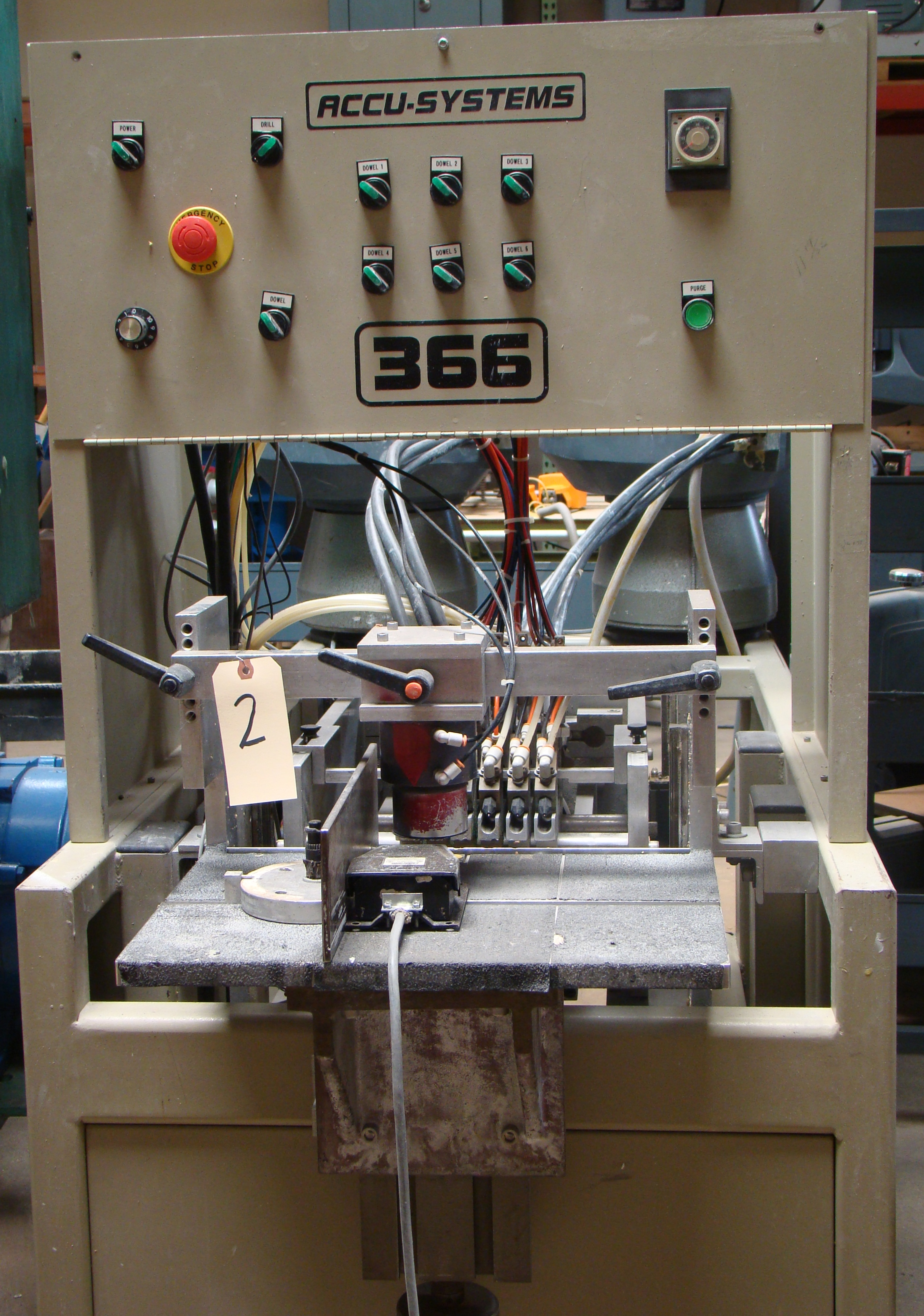 ACCU-Systems 366 Dowel Insertion Machine with Foot Pedal, Vibratory Bowl Feeders, Glue Pot 220 - Image 6 of 8