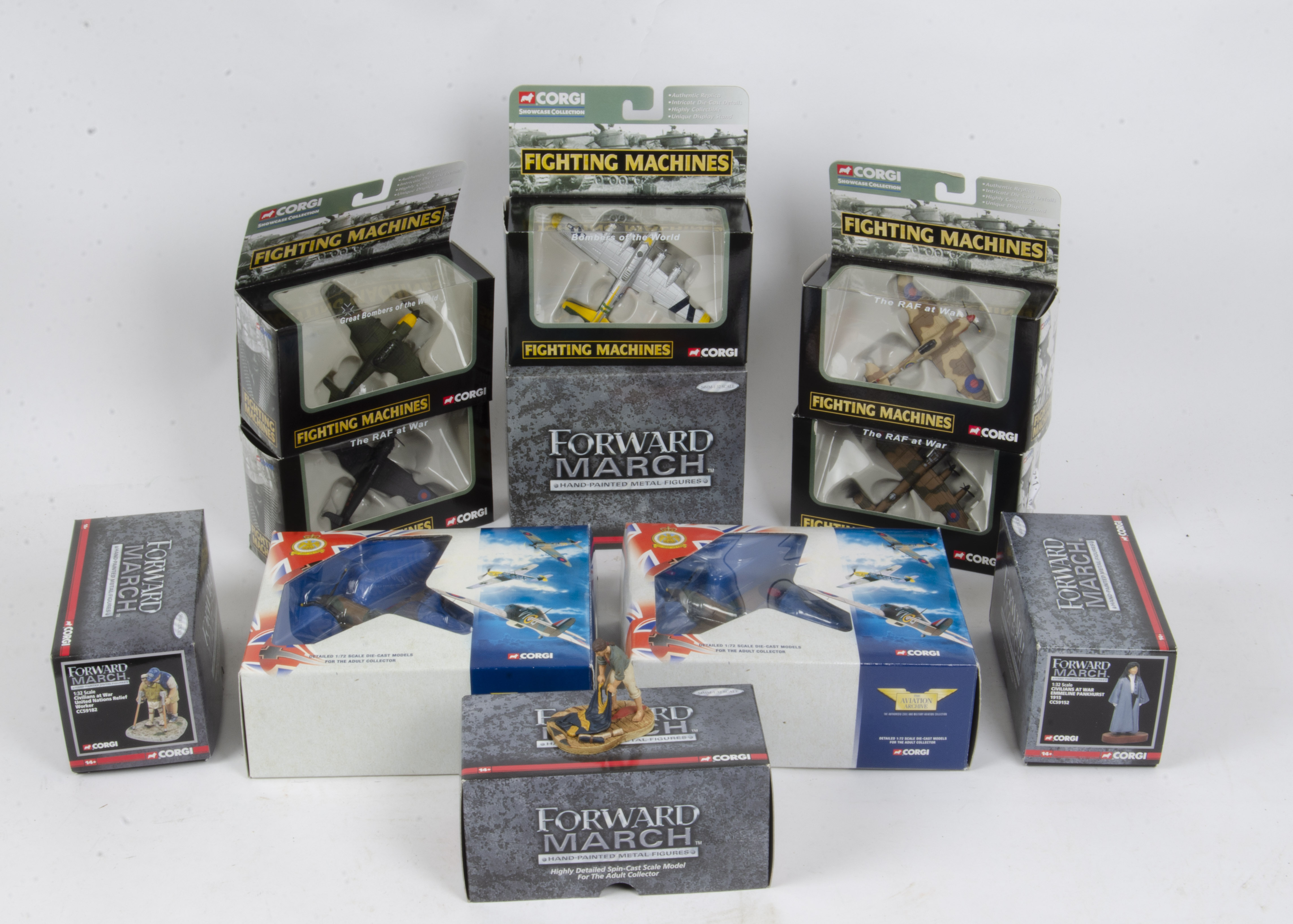 Corgi Military Aircraft and Forward March Figures, a boxed collection comprising Fighting