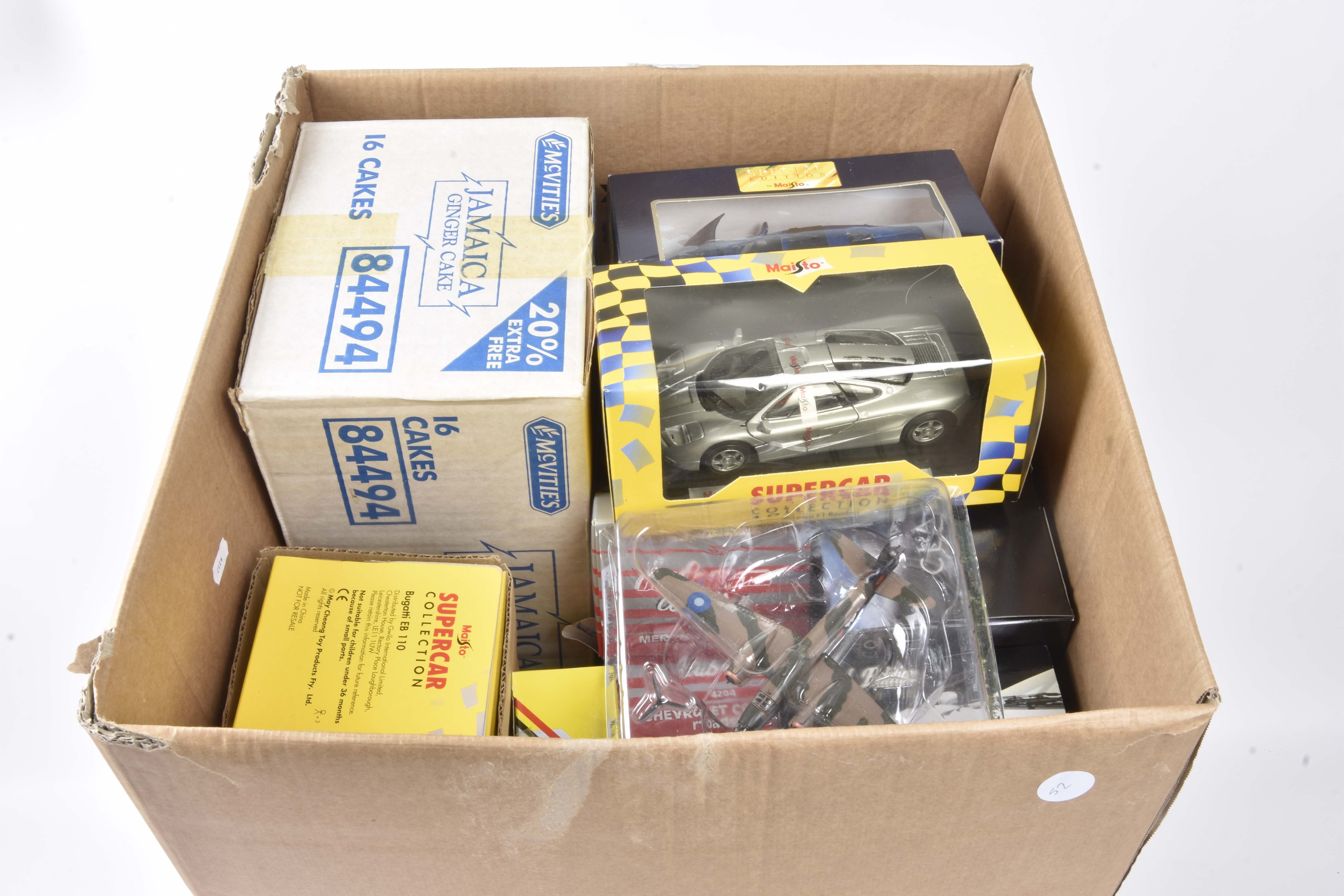 Modern Diecast 1:18 Scale and Smaller, a boxed/packaged collection of private vehicles and