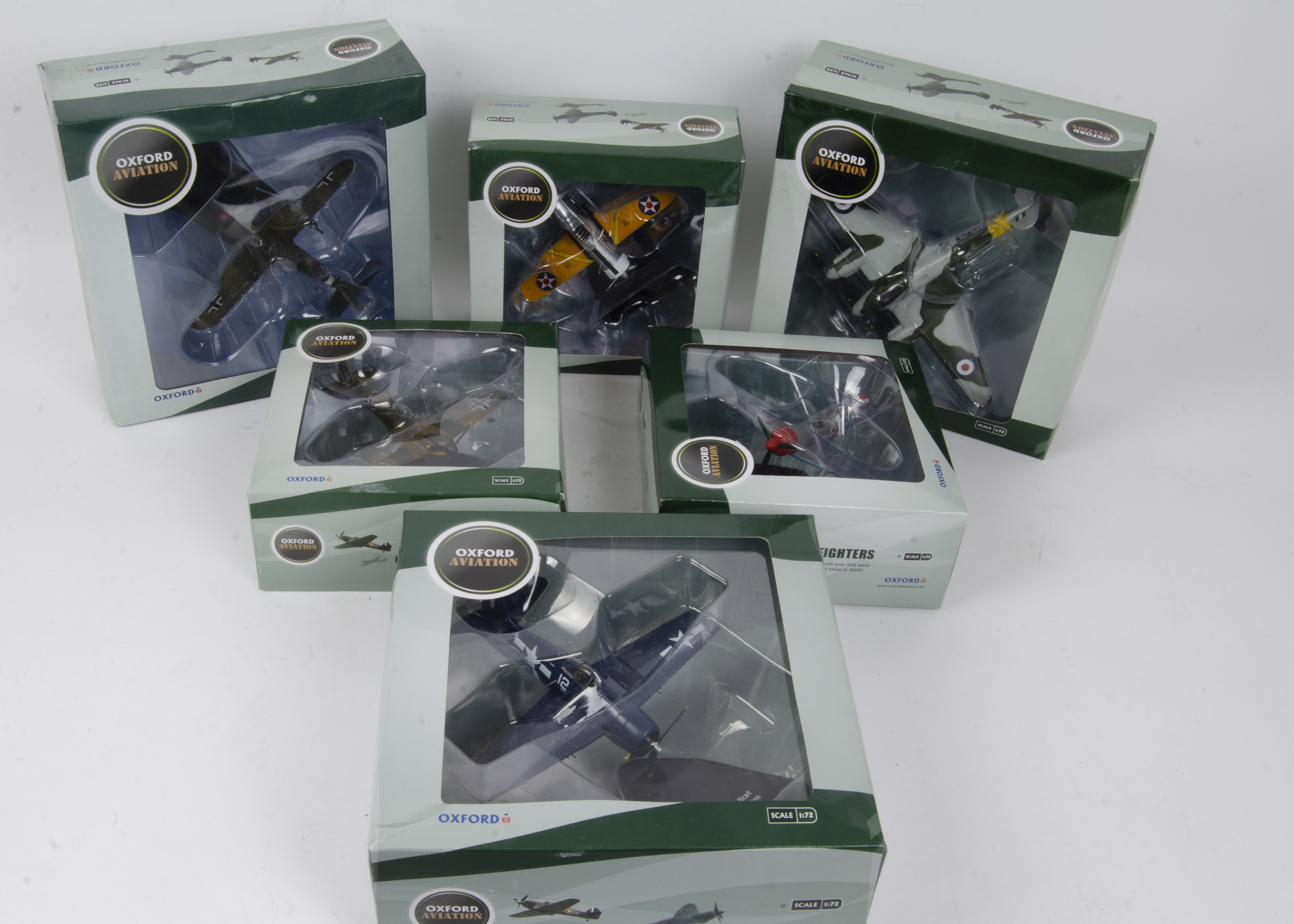 Oxford Aviation Front Line Fighters, a boxed collection of eleven models 1:72 scale comprising,