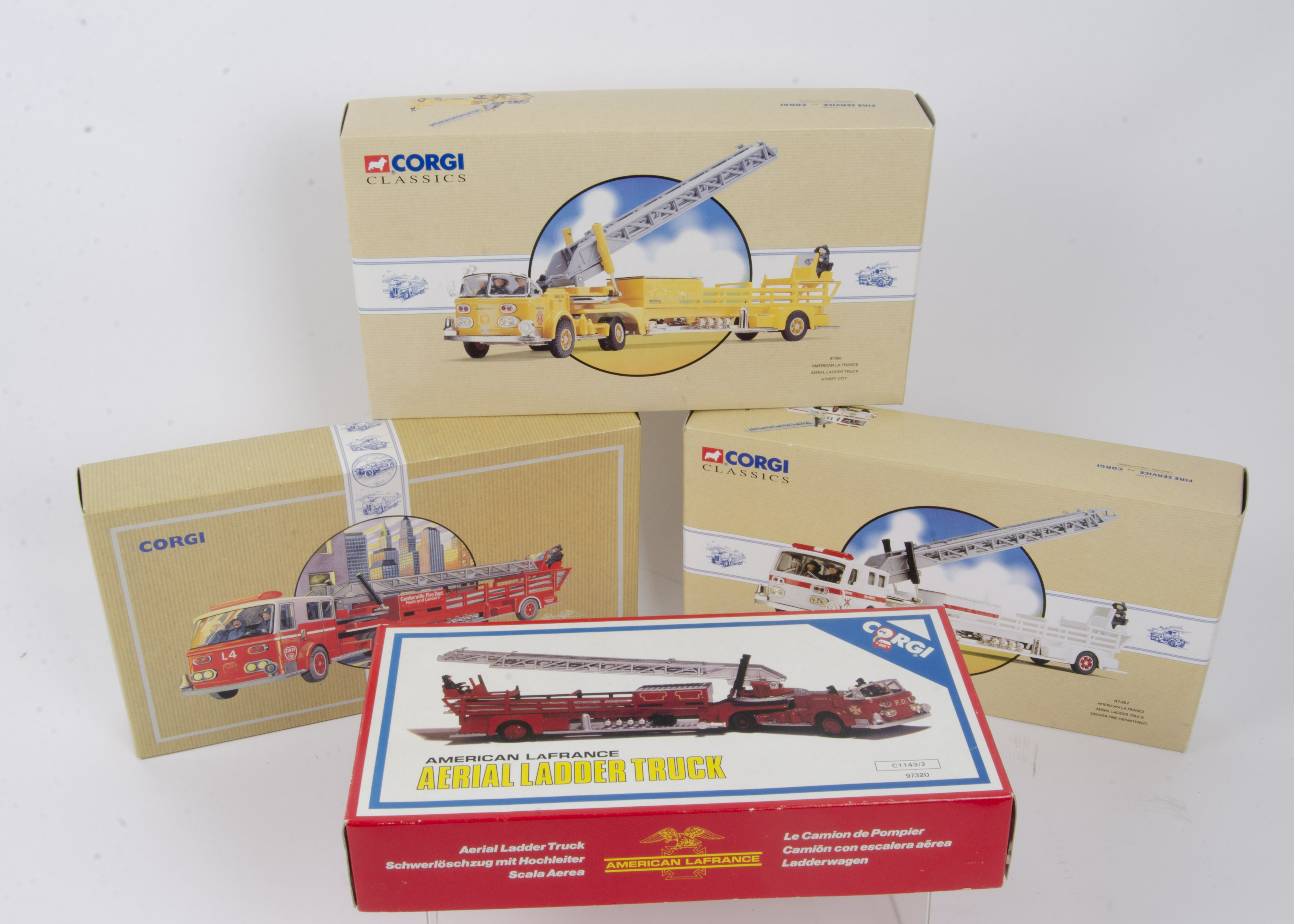 Corgi Classics American Fire Engines, a boxed group of four comprising La France engines 97398