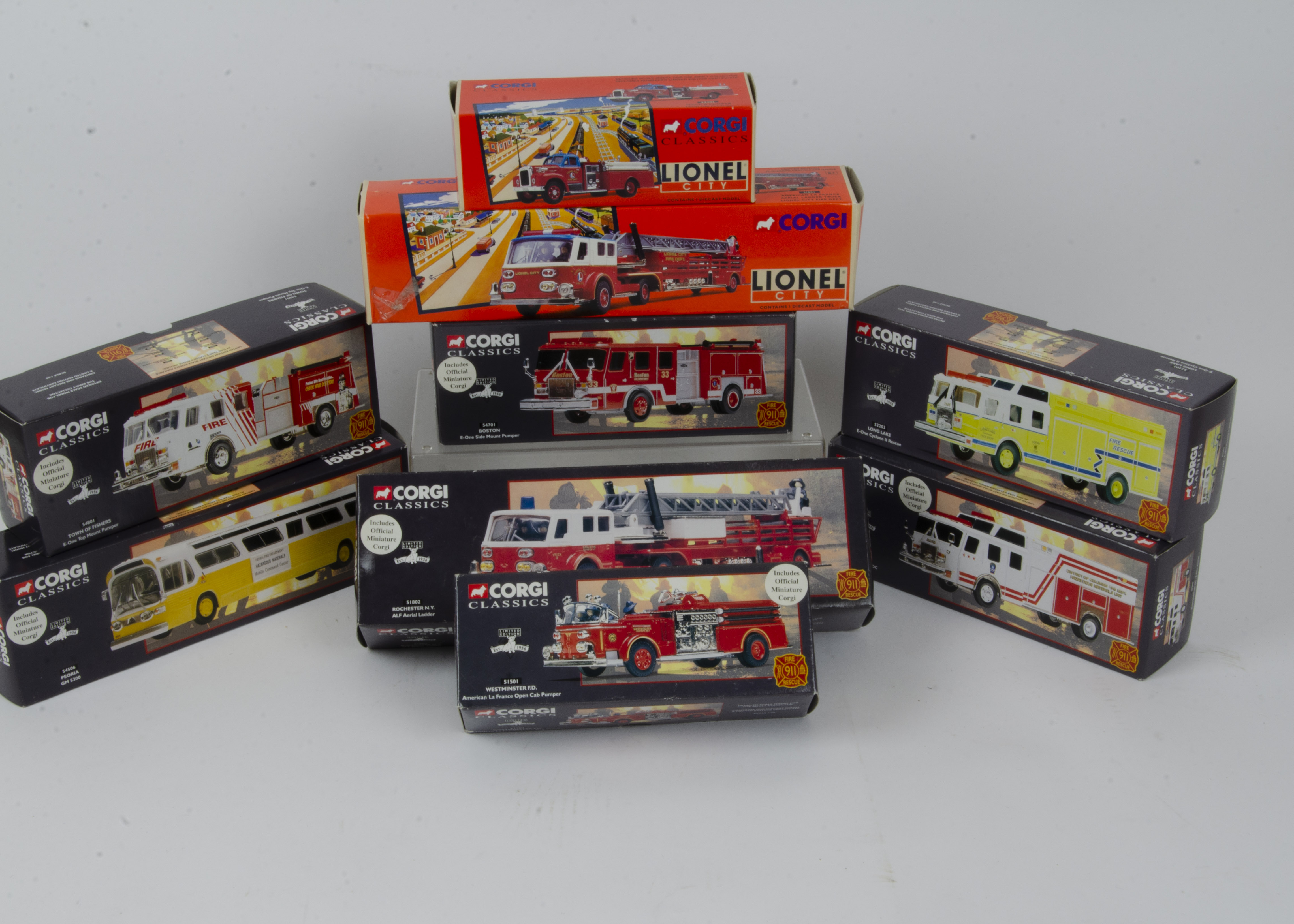 Corgi Classics American and Other Fire Engines and Related Vehicles, a boxed collection some limited