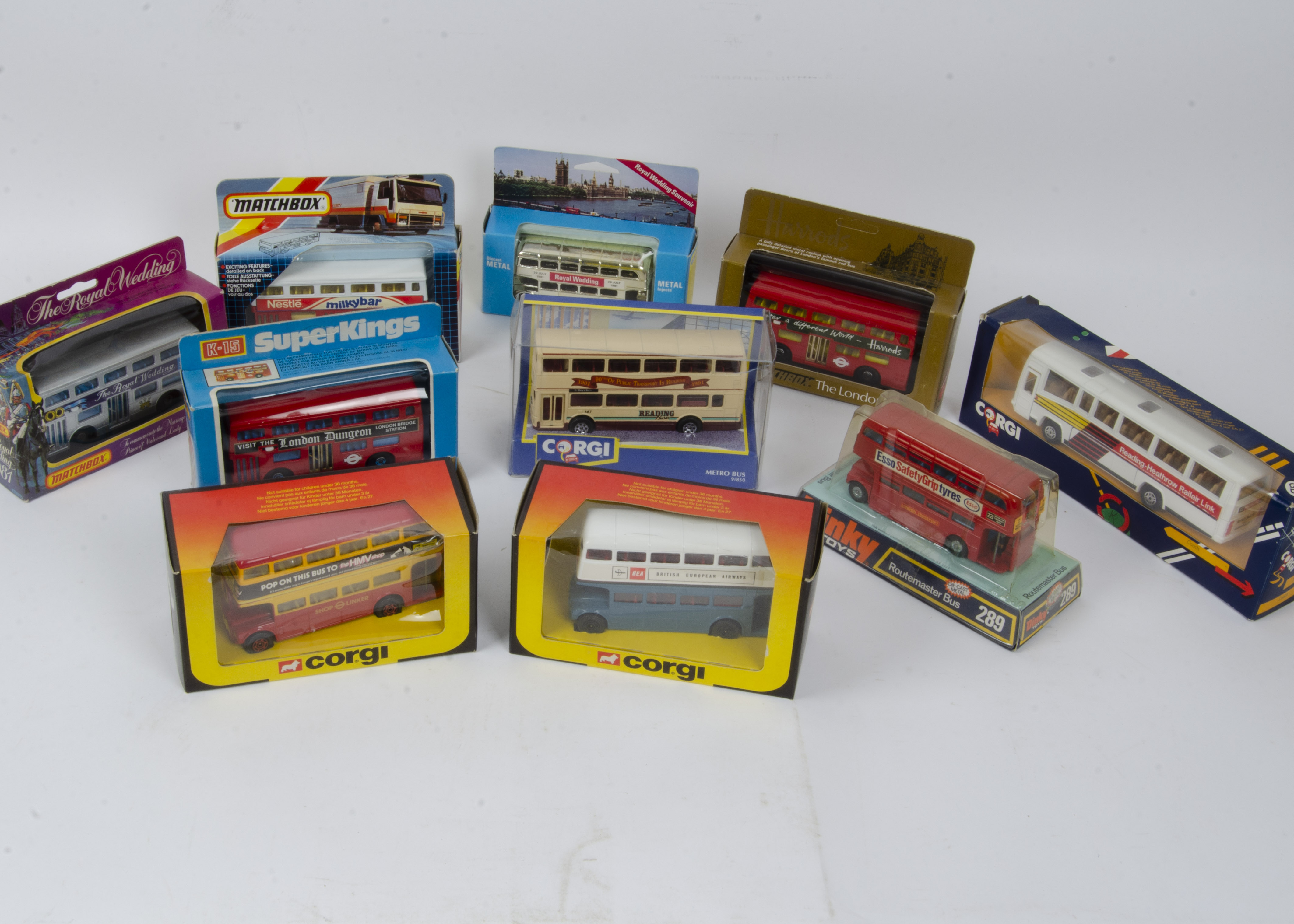 Dinky and Other Buses and Coaches, a boxed group including Dinky 289 Route Master (bubble packed),
