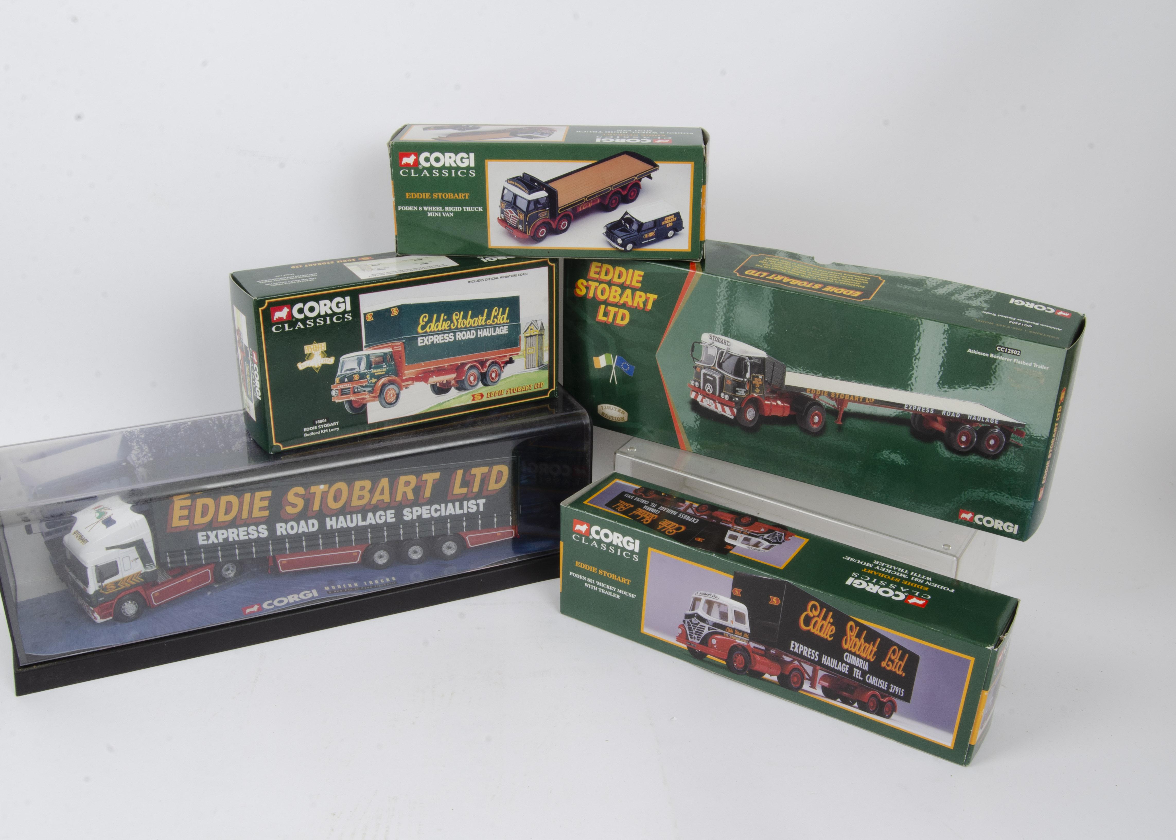 Corgi Classics Eddie Stobart, a boxed/cased group including, Modern Trucks in plastic case 75201 ERF