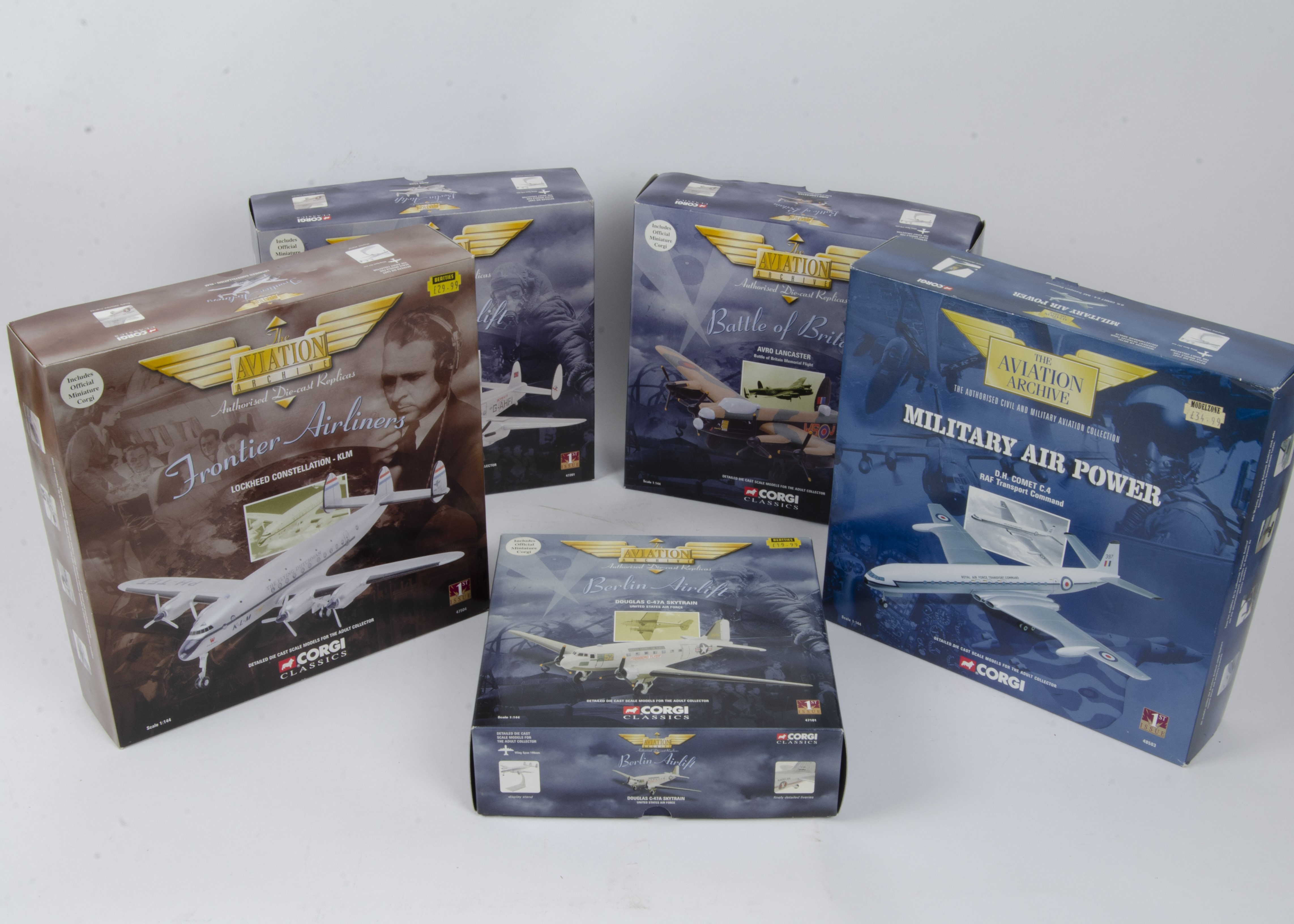 Corgi Aviation Archive , a boxed group of five all 1:144 scale comprising Military Air Power 48503