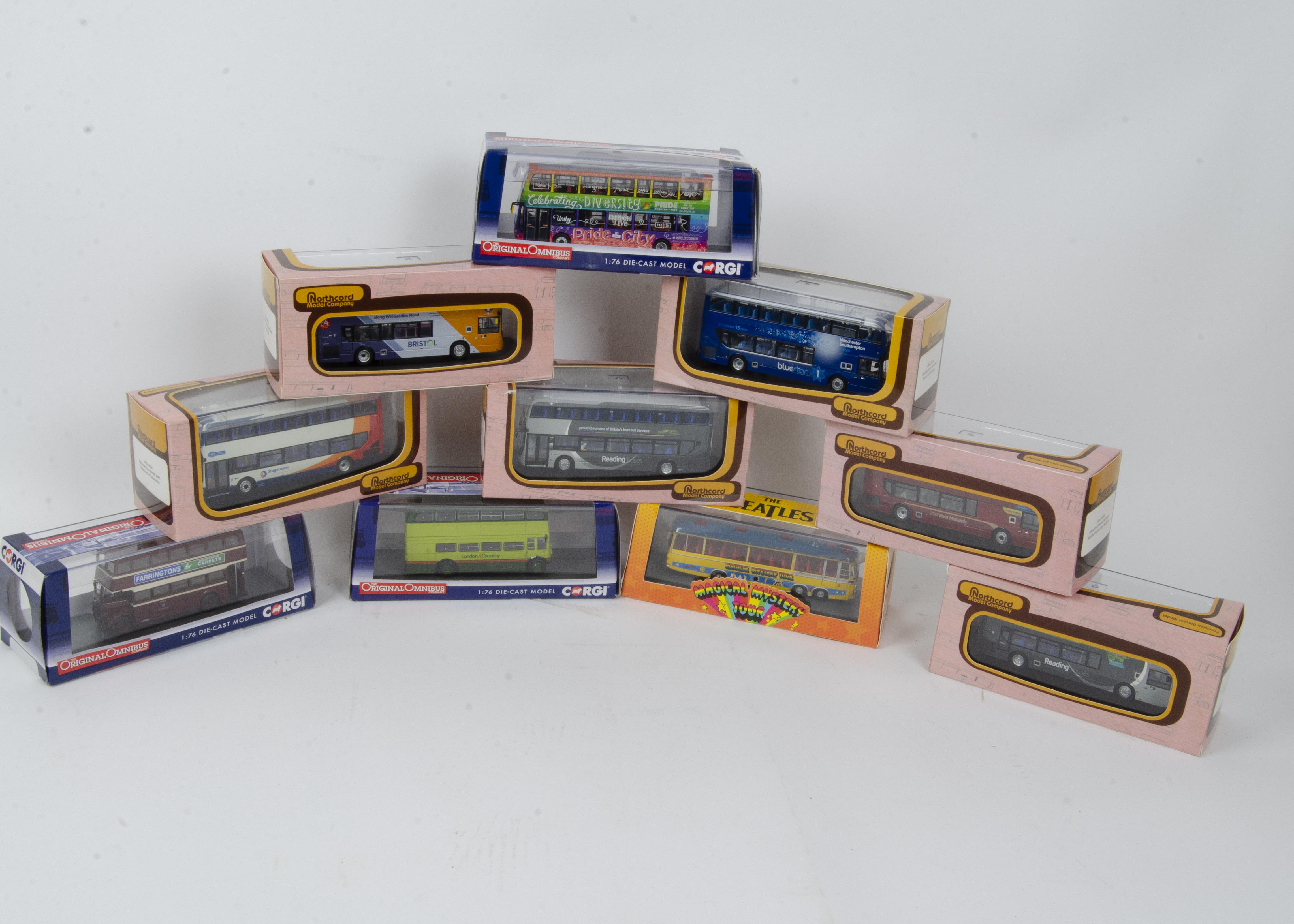 Corgi and Northcord Model Company Buses and Coaches, a boxed group comprising, Corgi CC42418 Beatles