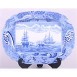"An 18th century blue and white ""Shipping Series"" pattern meat plate, 13 1/2"" wide"