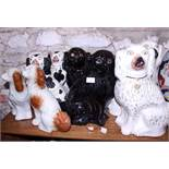 Six pairs of 19th century Staffordshire dogs, various (two pairs damages)