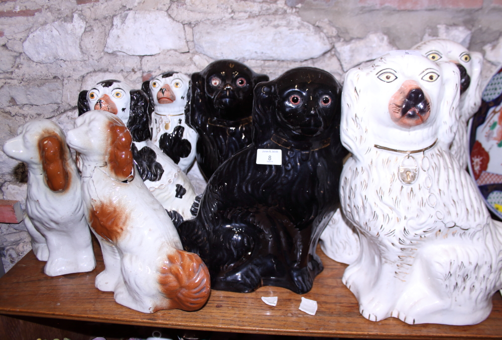 Lot 8 - Six pairs of 19th century Staffordshire dogs, various (two pairs damages)