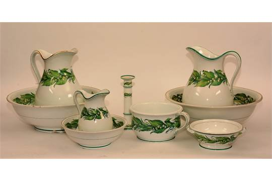 A Minton toilet set, comprising of two wash bowls, two jugs, small
