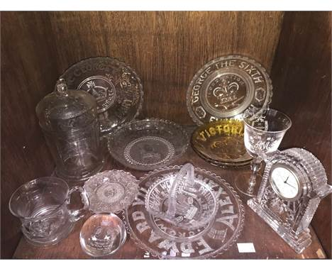 Various glass items including a Waterford Crystal mantel clock and Royal Commemorative plates, sweet basket, sweet jar, paper