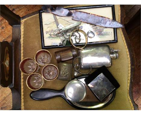 A silver hip flask marked 'Silver', together with a silver compact, a small silver pill box, a white metal compact, some silv