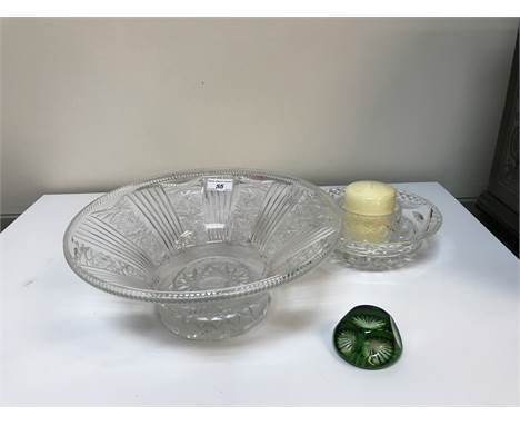 A collection of glassware to include a bohemian style footed pedestal bowl, a pair of candlesticks, two biscuit jars, two dec