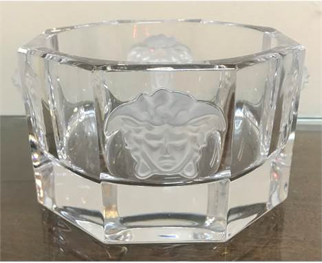 A crystal glass medusa wine or champagne bottle coaster marked rosenthal versace approx 1.622 kilos