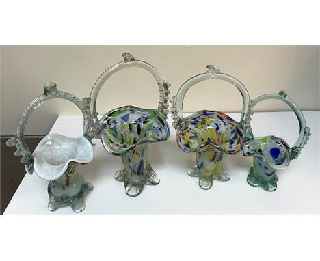 Three boxes of assorted glassware to include Murano style baskets, various vases, etc and a box of assorted metal ware to inc
