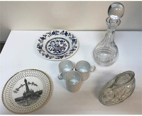 """Two boxes of assorted china and glassware to include Adam's """"Old Colonial"""" and """"Thomas"""" part dinner service with silver decor"""