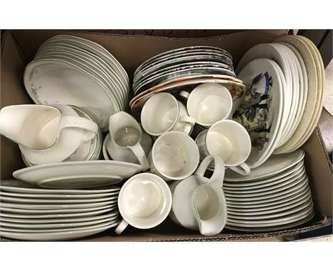 """A box of china wares to include Royal Doulton """"Caprice"""" dinner wares, various collectors' plates and a box of assorted glassw"""
