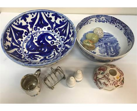 """Two boxes of assorted decorative china wares and glassware to include vases, Spode """"Italian"""" fruit bowl, etc., a box containi"""