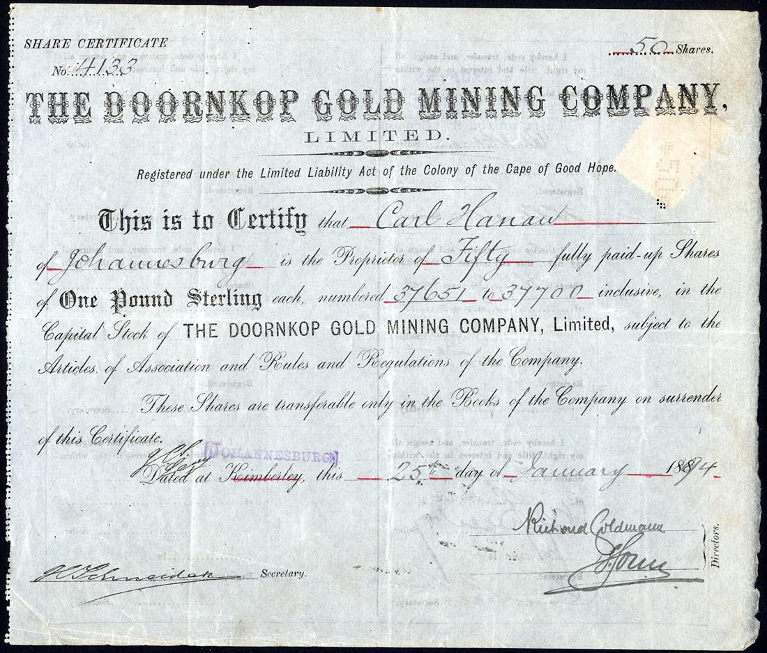 Lot 608 - Doornkop Gold Mining Co. Ltd., £1 shares, 188[94], no.4133, issued to Carl Hanau and signed by him