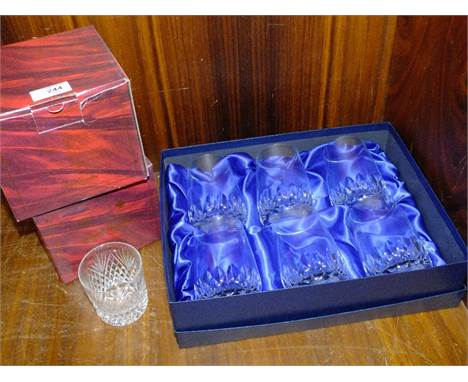 TWO BOXED ROYAL BRIERLEY DRINKING GLASS SETS TOGETHER WITH A SCHOTT SIX TUMBLER SET