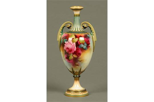 A Royal Worcester Vase Decorated With Roses And Signed Quotcv