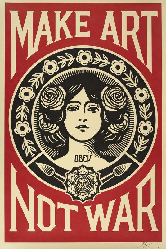 Lot 20 - Shepard FAIREY dit OBEY (1970) Make Art no War - lithographie signée en bas à [...]