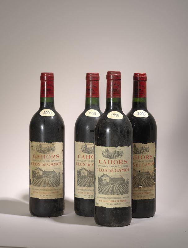 Lot 56 - 4 bouteilles Cahors, Clos de Gamot, Jean Jouffreau dont 2 millesime 1998 et 2 [...]