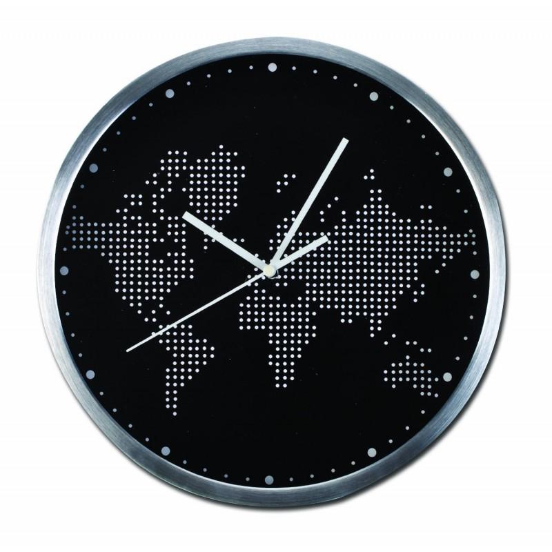 Lot 10056 - V Grade A Brushed Aluminium Cased 30cm World Map Wall Clock RRP39.99