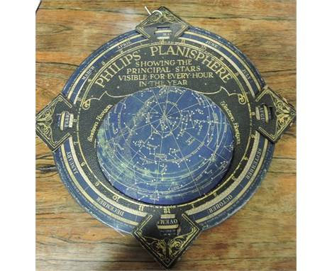 An early 20th Century Philip's Planisphere showing the principal stars visible for every hour in the year, dia: 30cm