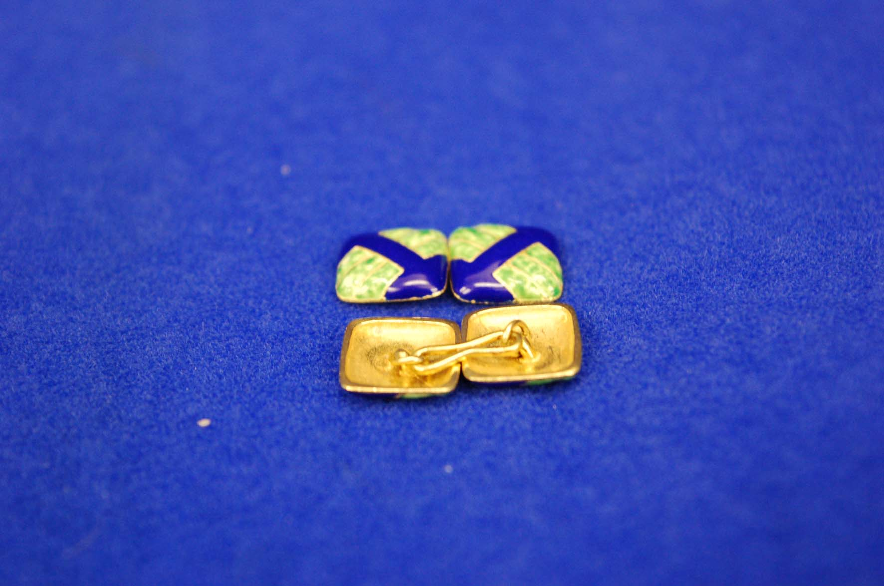 Lot 7 - A Pair of Blue and Green Enamel Linked Cufflinks of Square Form